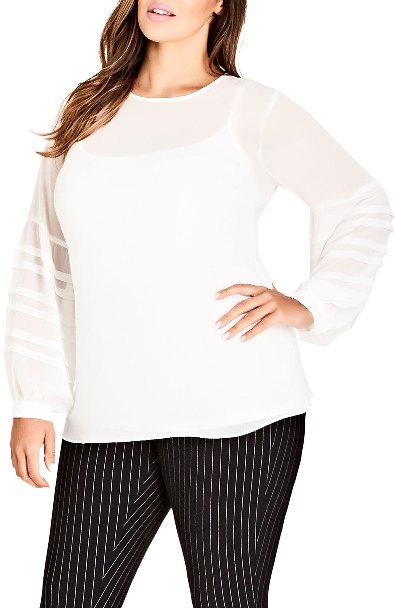 Seraphina Balloon Sleeve Top,                         Main,                         color, IVORY