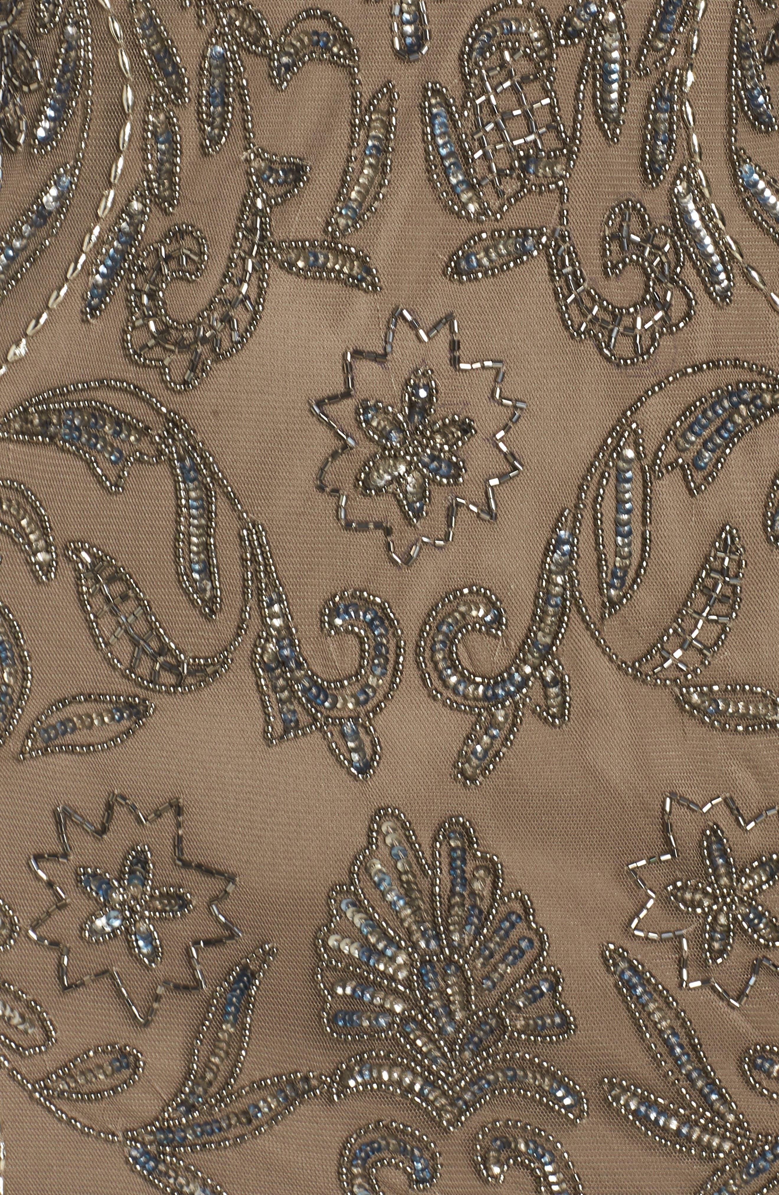 Beaded Illusion Mesh Sheath Dress,                             Alternate thumbnail 6, color,                             MOCHA