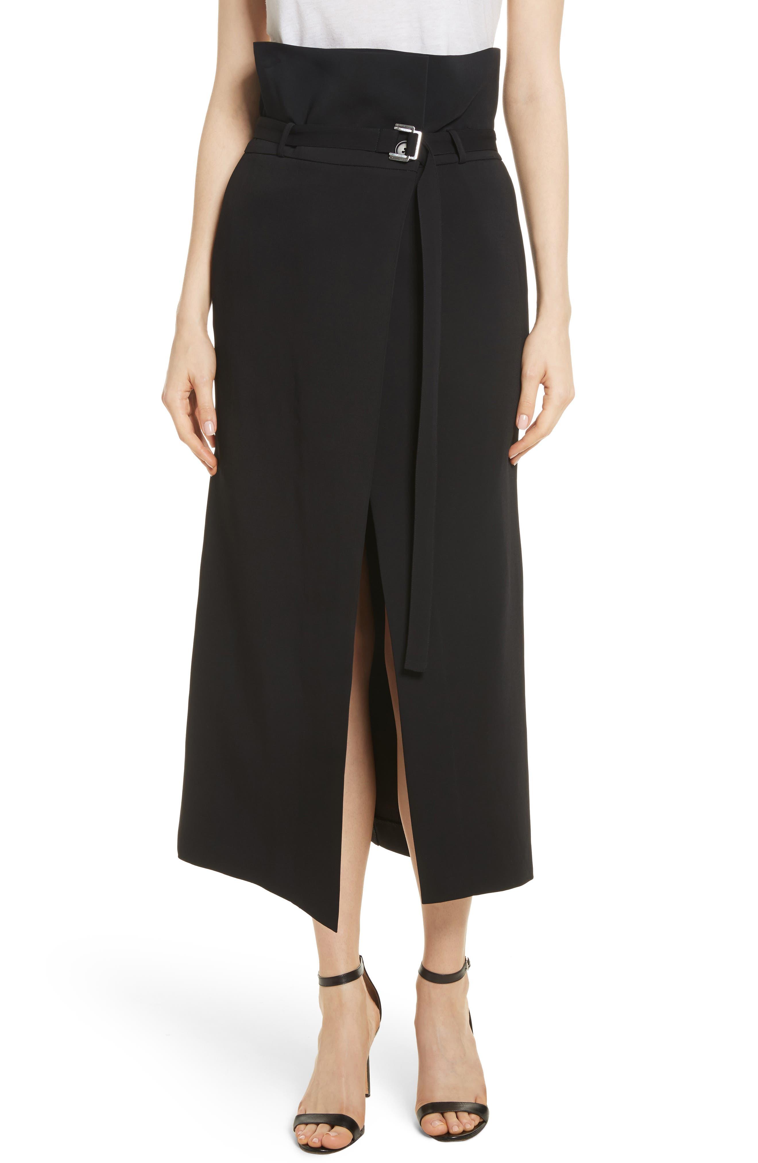 Paperbag Waist Split Front Skirt,                             Main thumbnail 1, color,                             001
