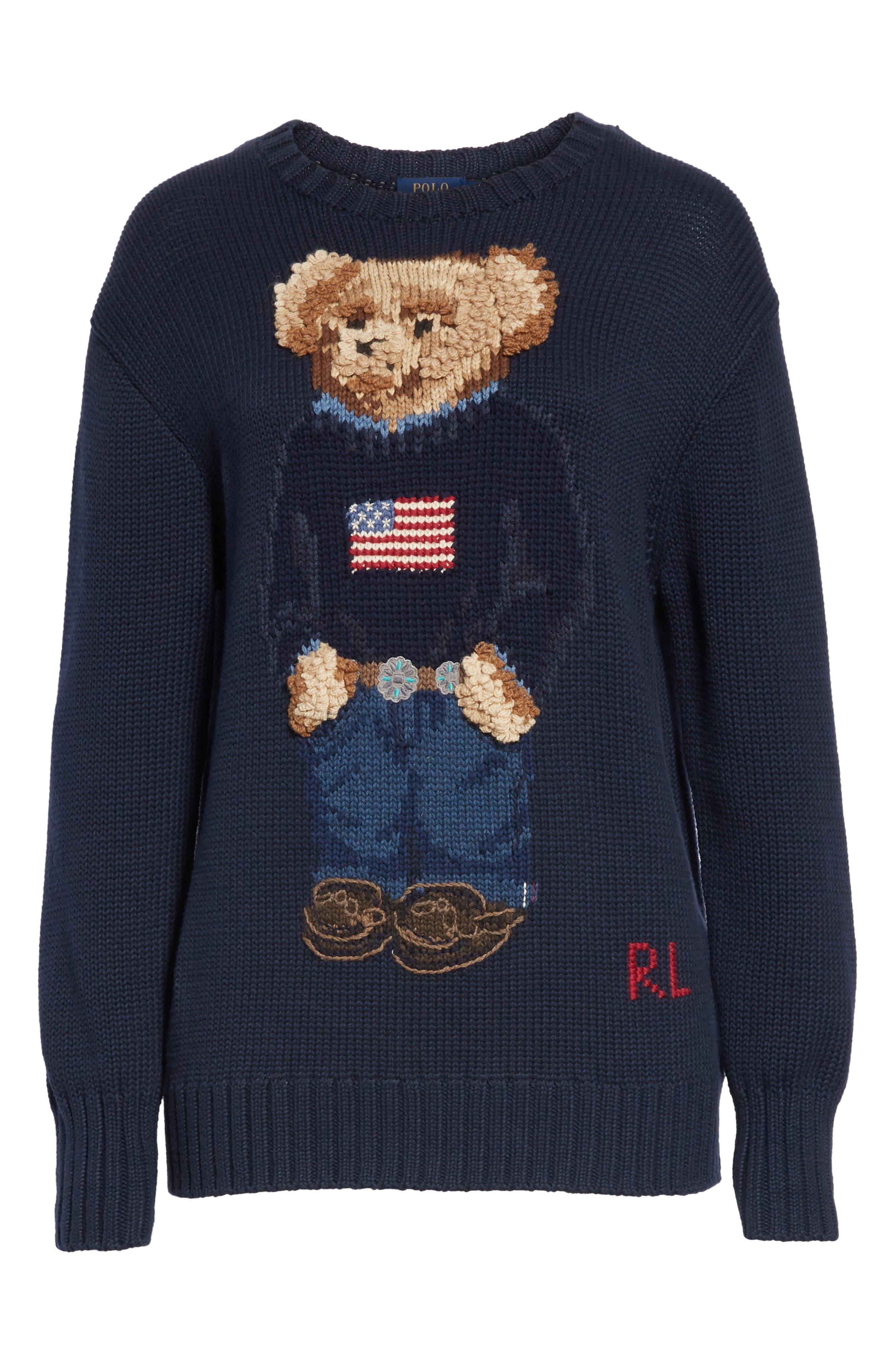 Bear Sweater,                             Alternate thumbnail 6, color,                             NAVY MULTI