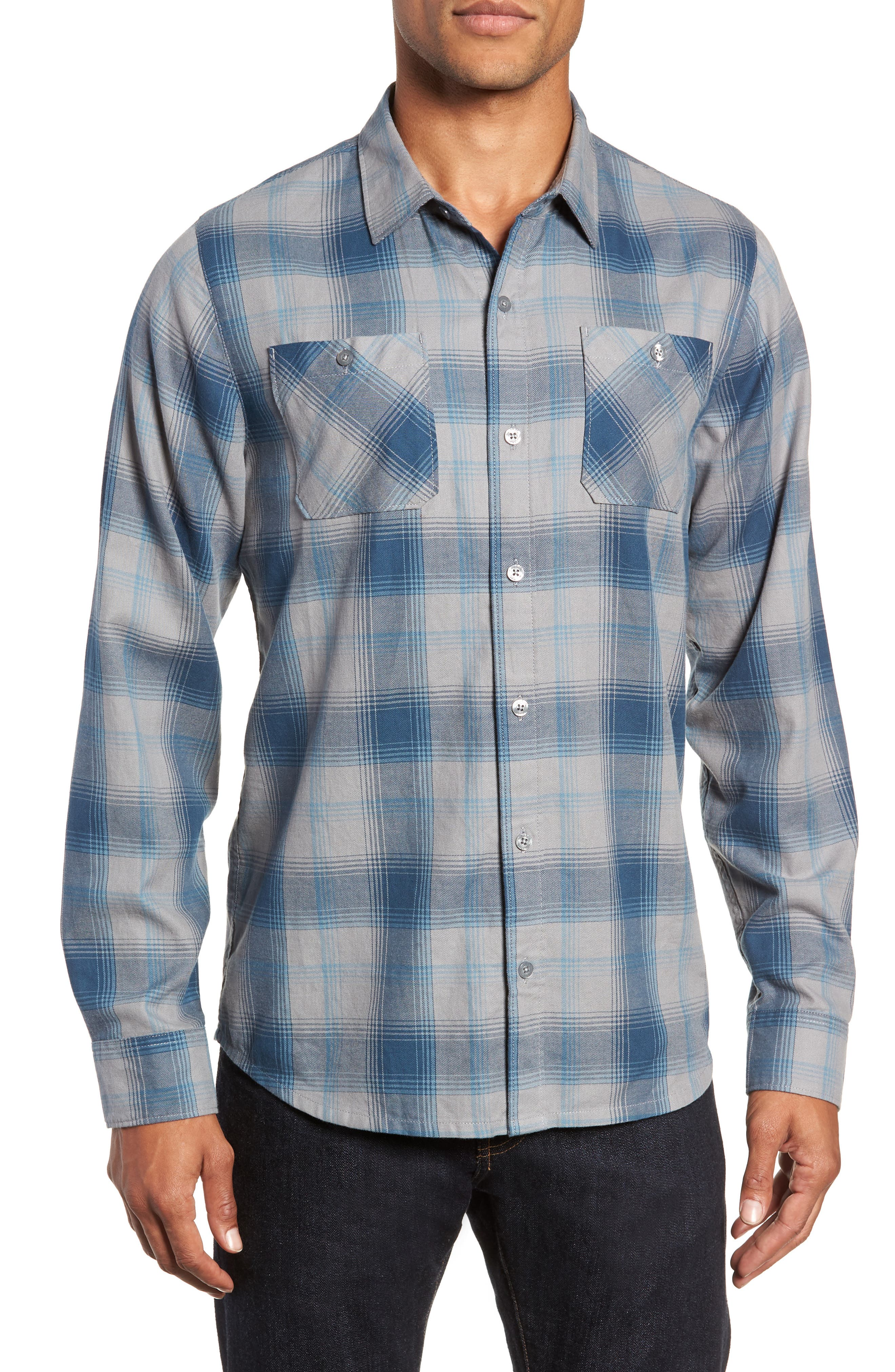 Insider Regular Fit Plaid Flannel Sport Shirt,                         Main,                         color, BLUE WING TEAL