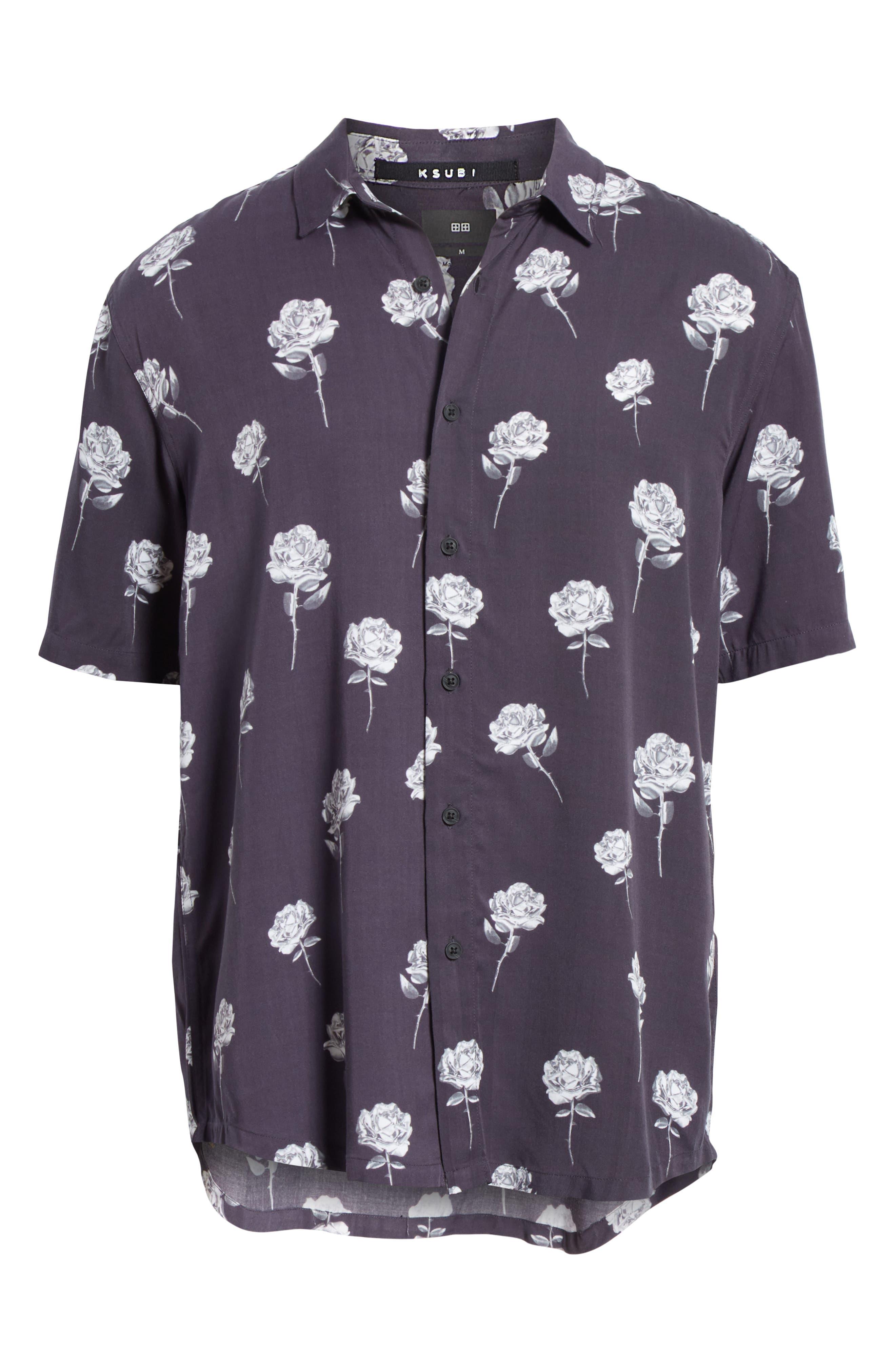 Chrome Rose Print Shirt,                             Alternate thumbnail 6, color,                             BROWN
