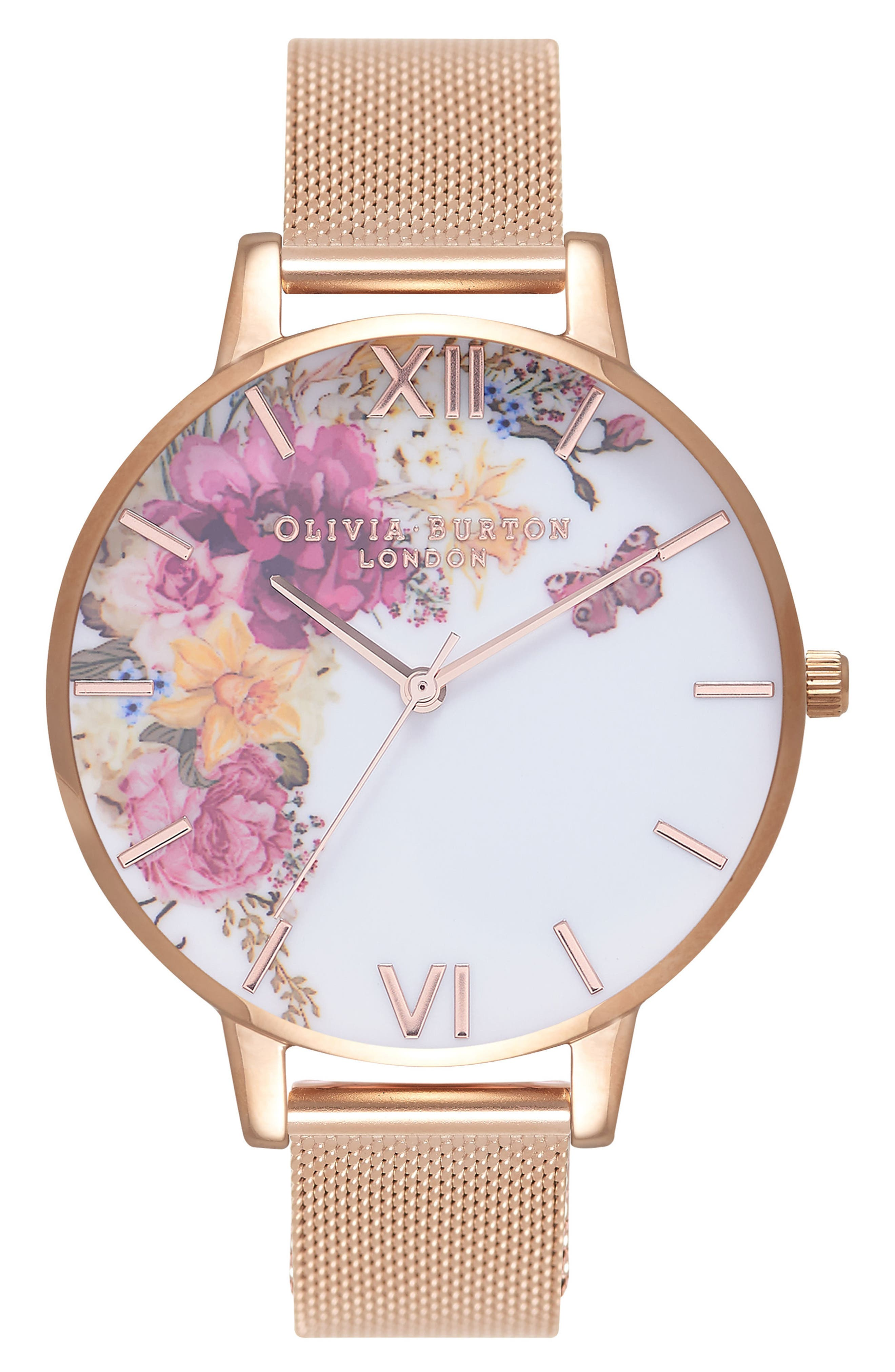 Enchanted Garden Mesh Strap Watch, 38mm,                             Main thumbnail 1, color,                             ROSE GOLD/ WHITE/ ROSE GOLD