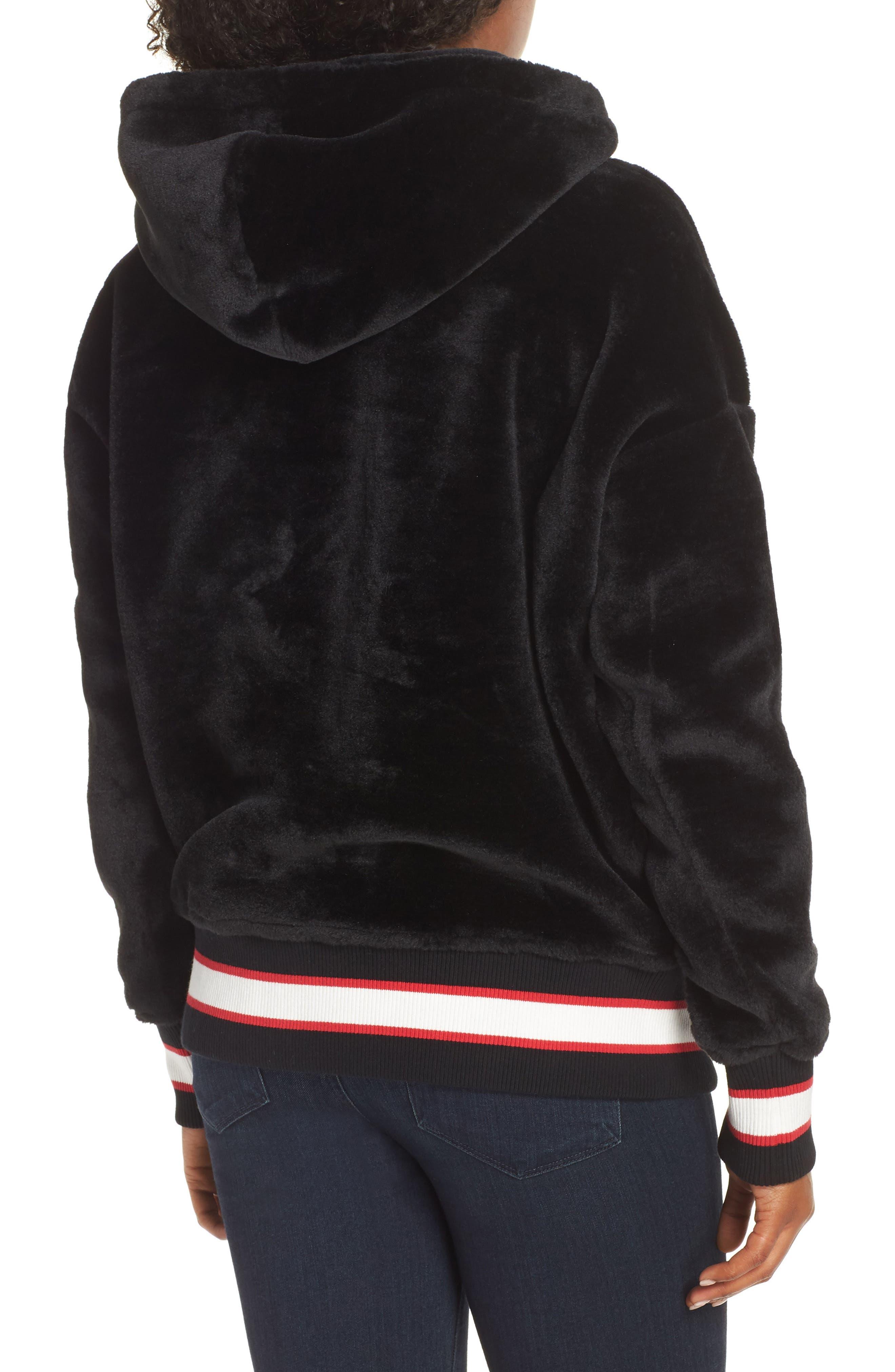 Kailani High Pile Fleece Hoodie,                             Alternate thumbnail 2, color,                             BLACK