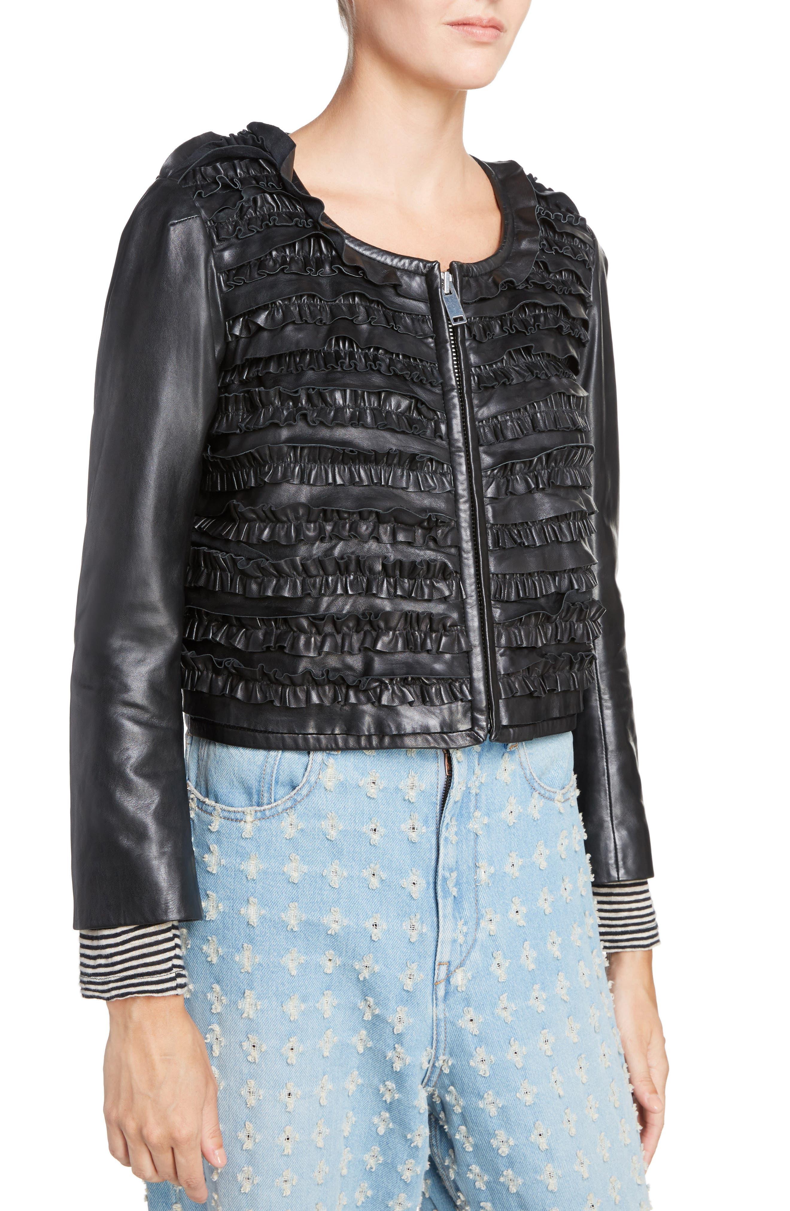 Isabel Marant Étoile Abella Frill Leather Jacket,                             Alternate thumbnail 4, color,