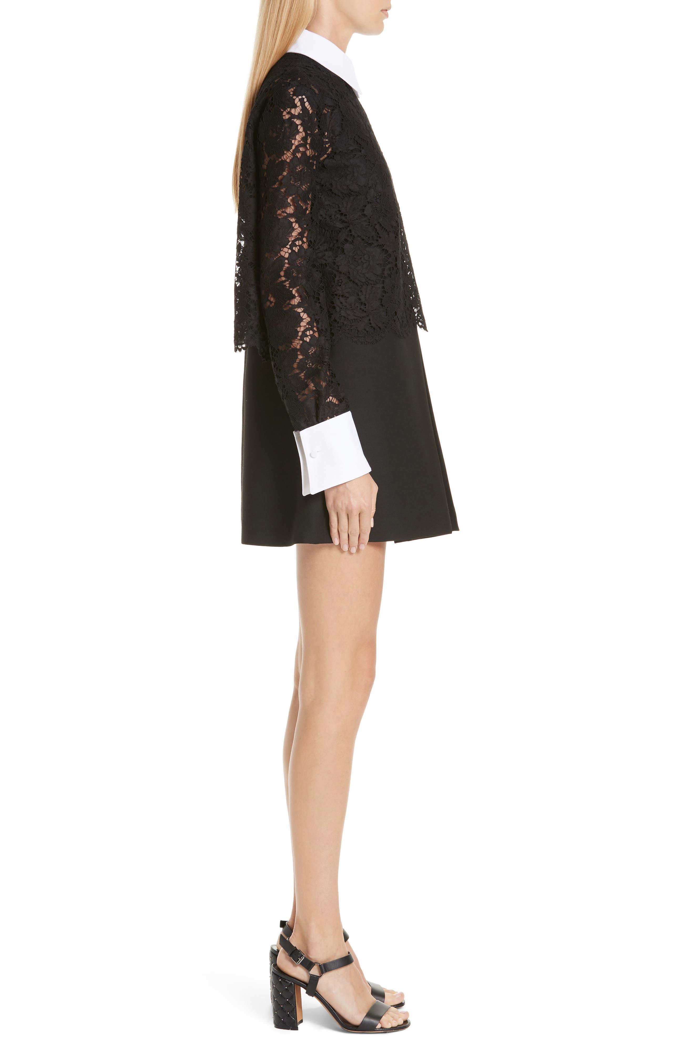 Contrast Collar Lace & Crepe Couture Dress,                             Alternate thumbnail 3, color,                             BLACK