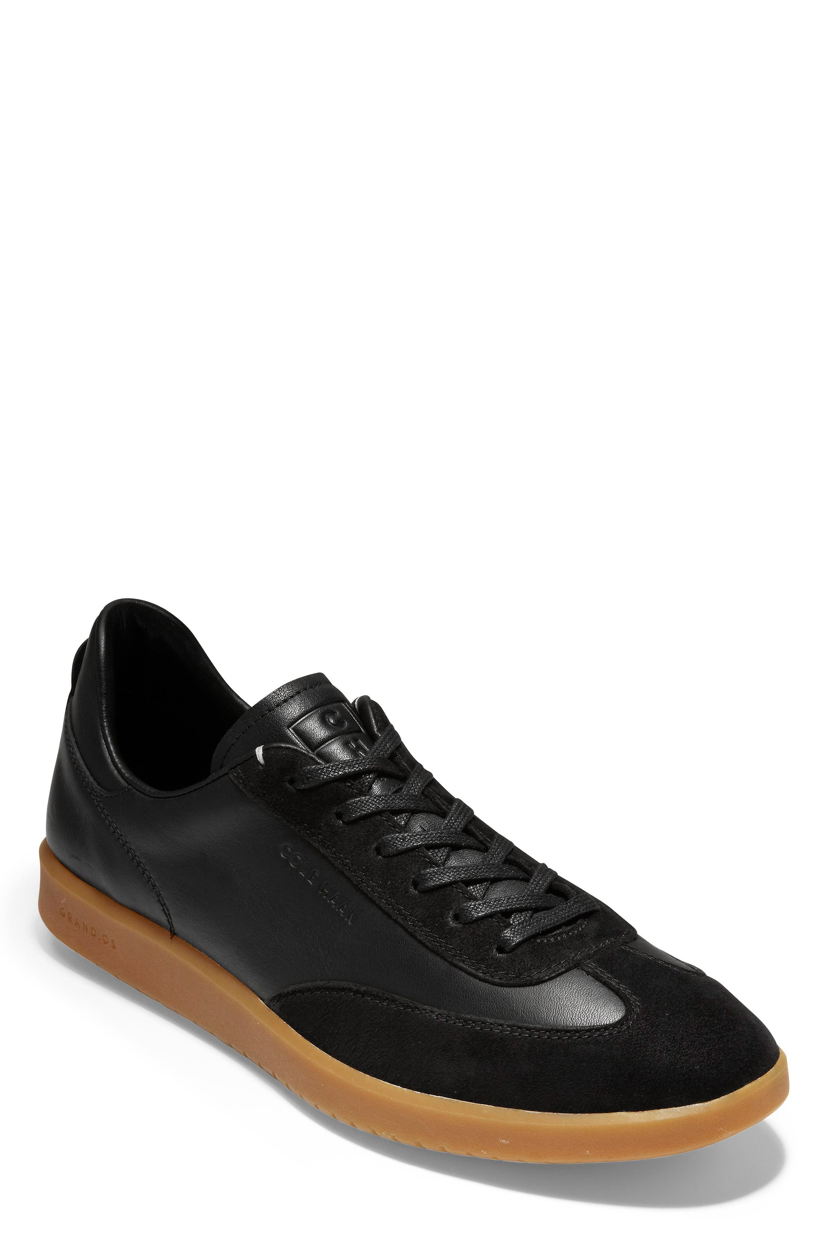 GrandPro Turf Sneaker, Main, color, BLACK LEATHER/ SUEDE