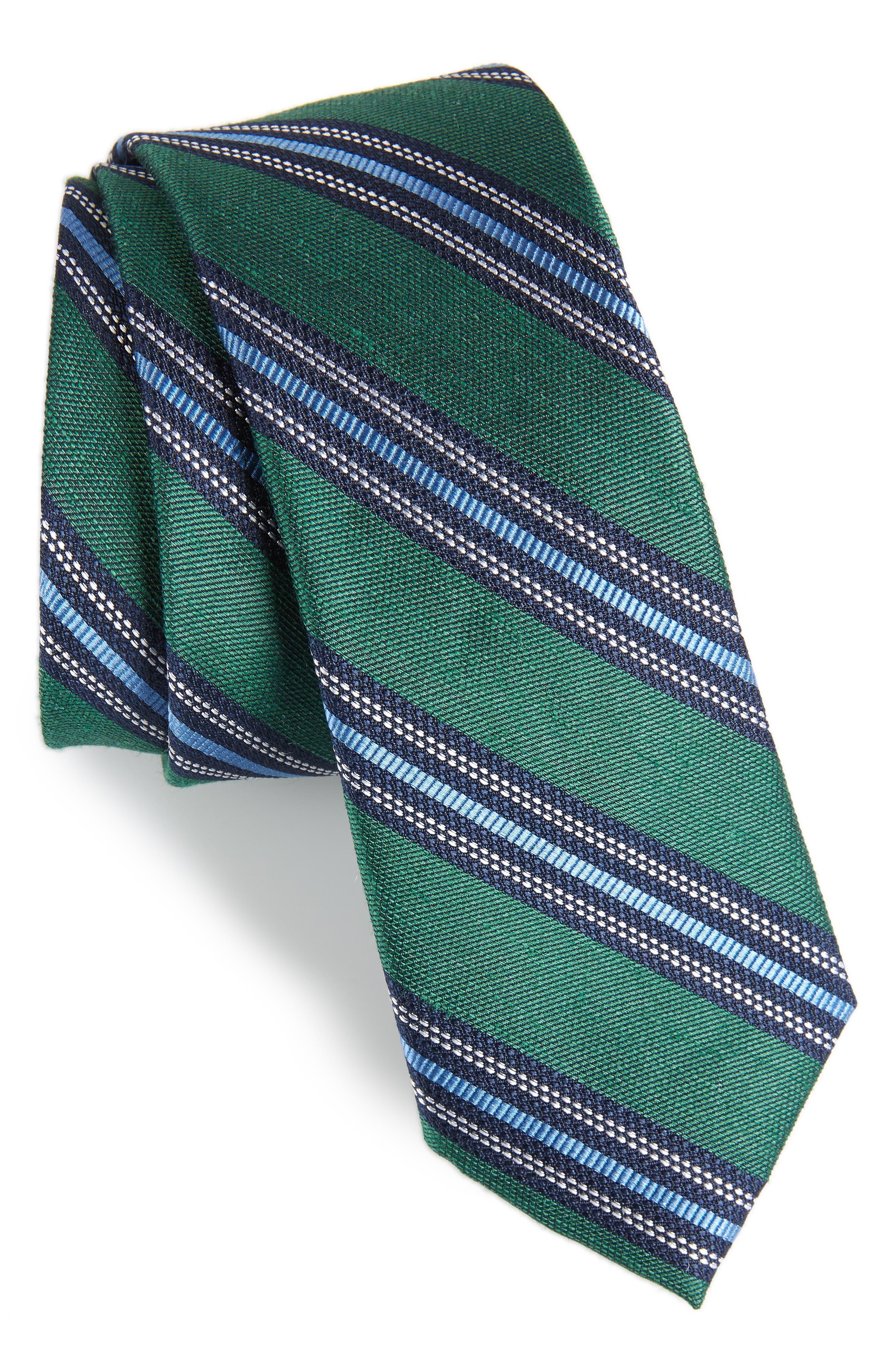 Rangel Stripe Silk & Linen Tie,                         Main,                         color, 300