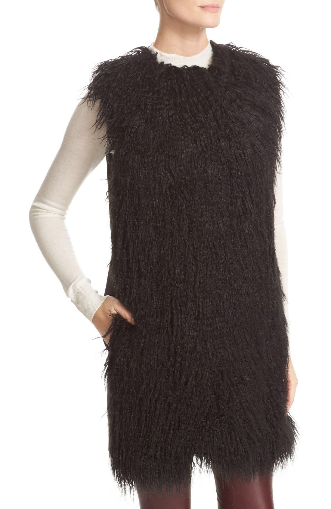 Nyma V Cody Shaggy Faux Fur Front Long Vest,                             Alternate thumbnail 3, color,                             001