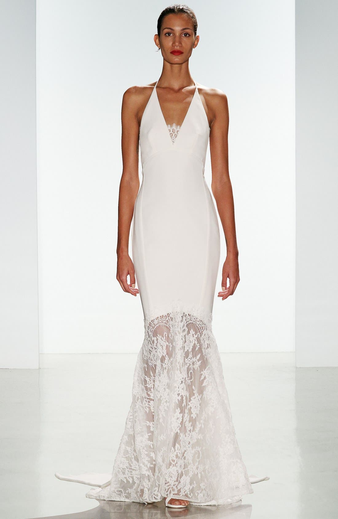 Bree Lace & Crepe Halter Gown,                             Alternate thumbnail 5, color,                             900