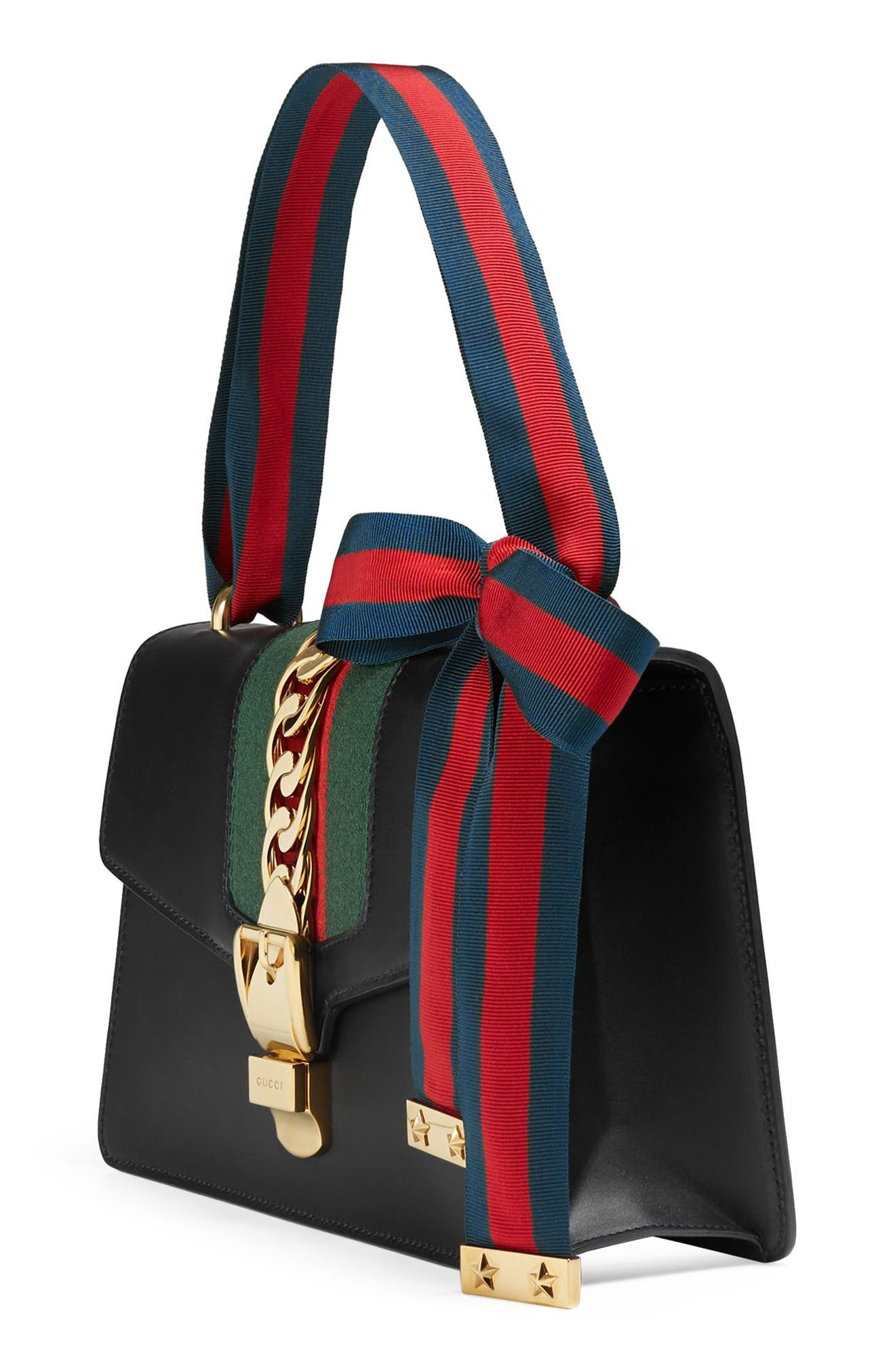 Small Sylvie Leather Shoulder Bag,                             Alternate thumbnail 4, color,                             NERO/ VRV/ BRB