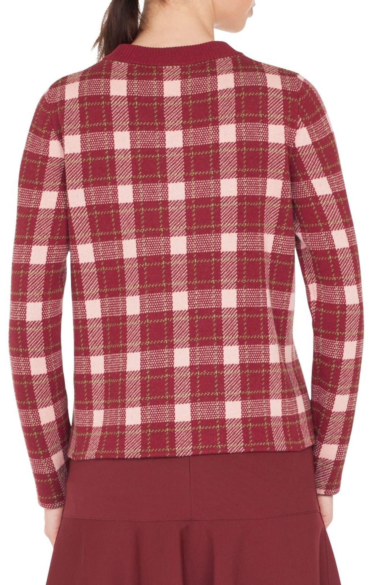 Brit Check Wool & Cashmere Pullover,                             Alternate thumbnail 2, color,                             BLUSH ROSE/ BURGUNDY