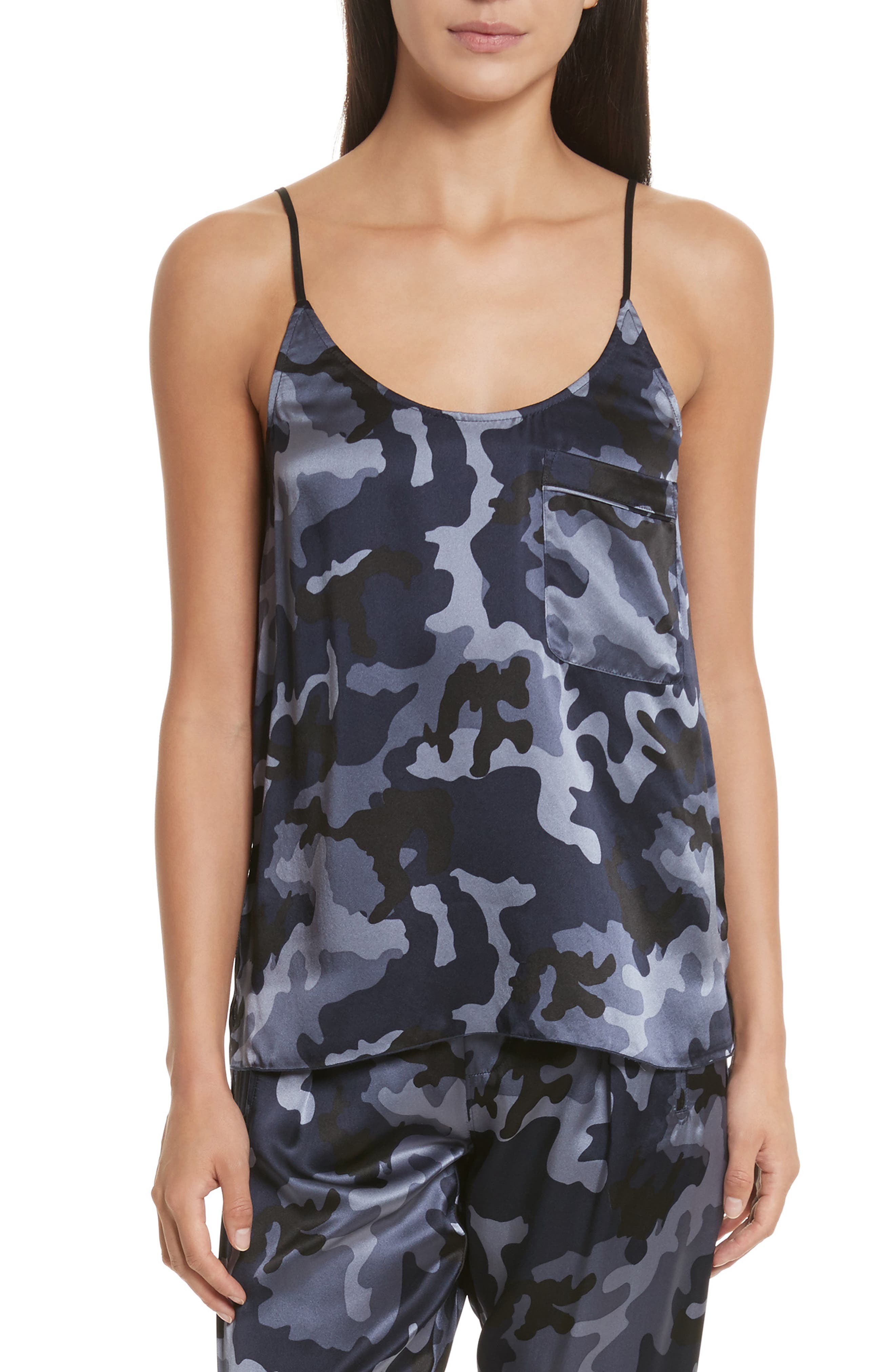 ATM ANTHONY THOMAS MELILLO Camo Garment Washed Silk Tank, Main, color, 410