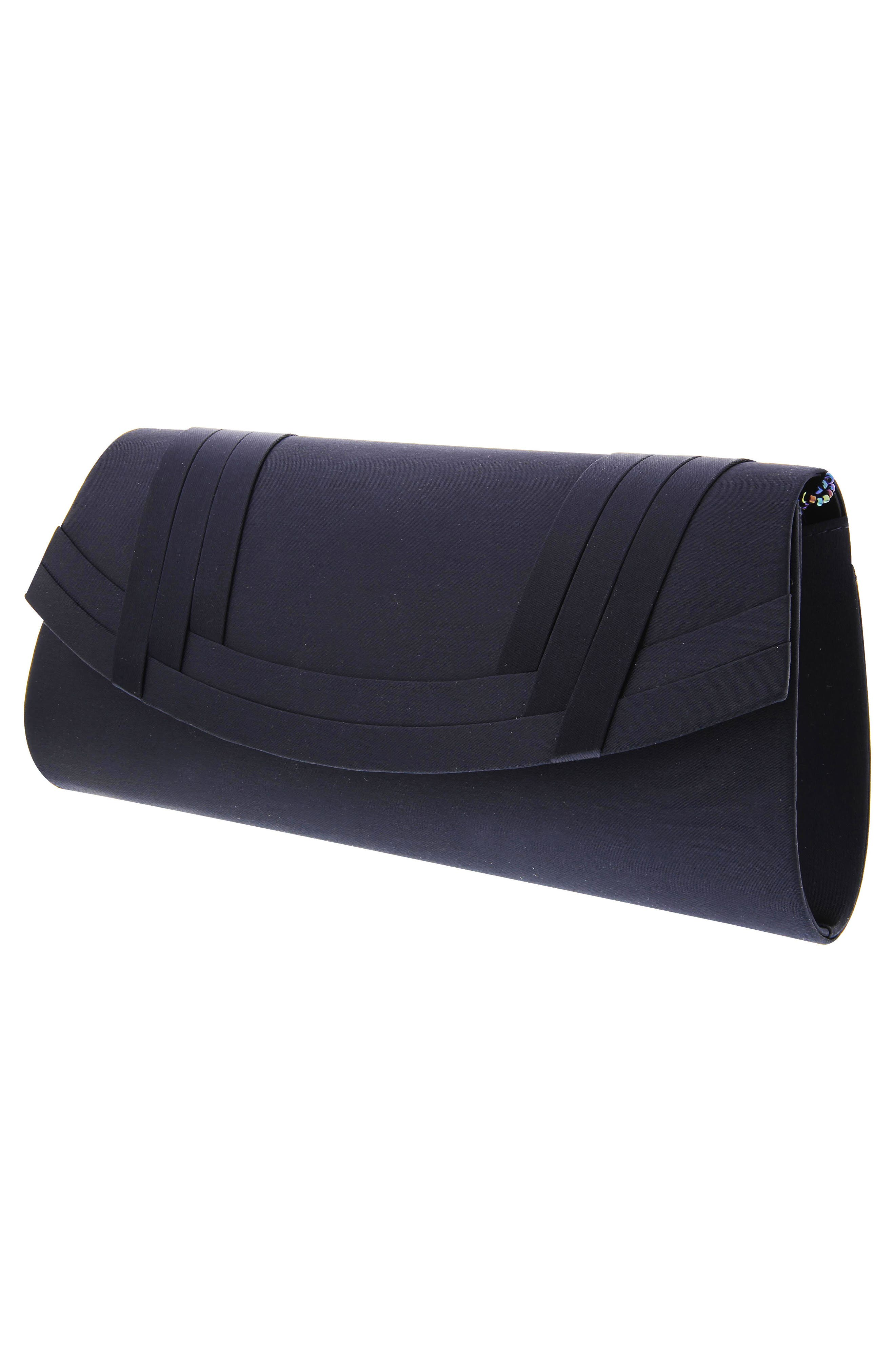 Avis Pleated Classic Clutch,                             Alternate thumbnail 5, color,                             NAVY NOBLE SATIN