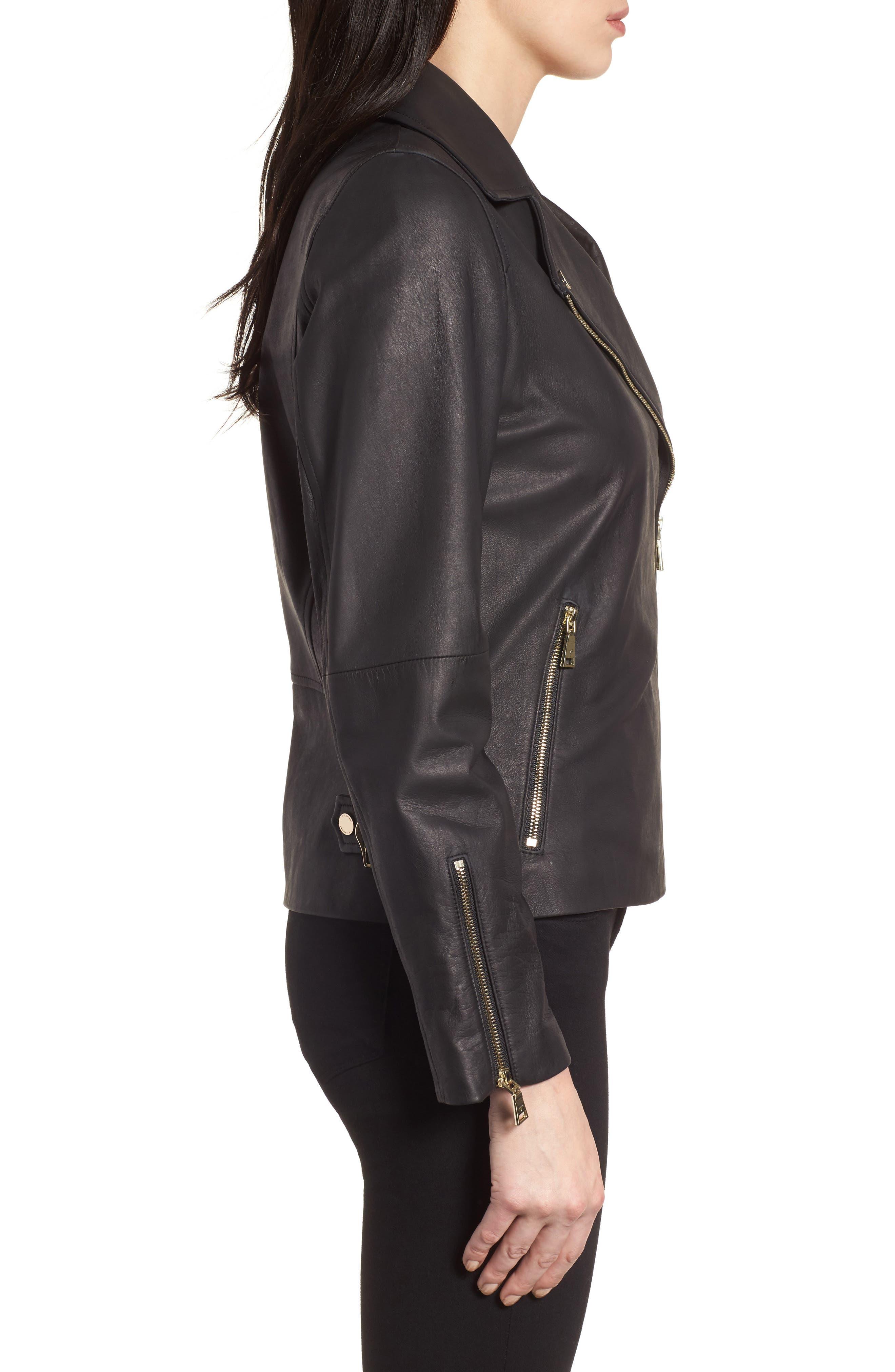 Skylar Leather Moto Jacket,                             Alternate thumbnail 3, color,                             001