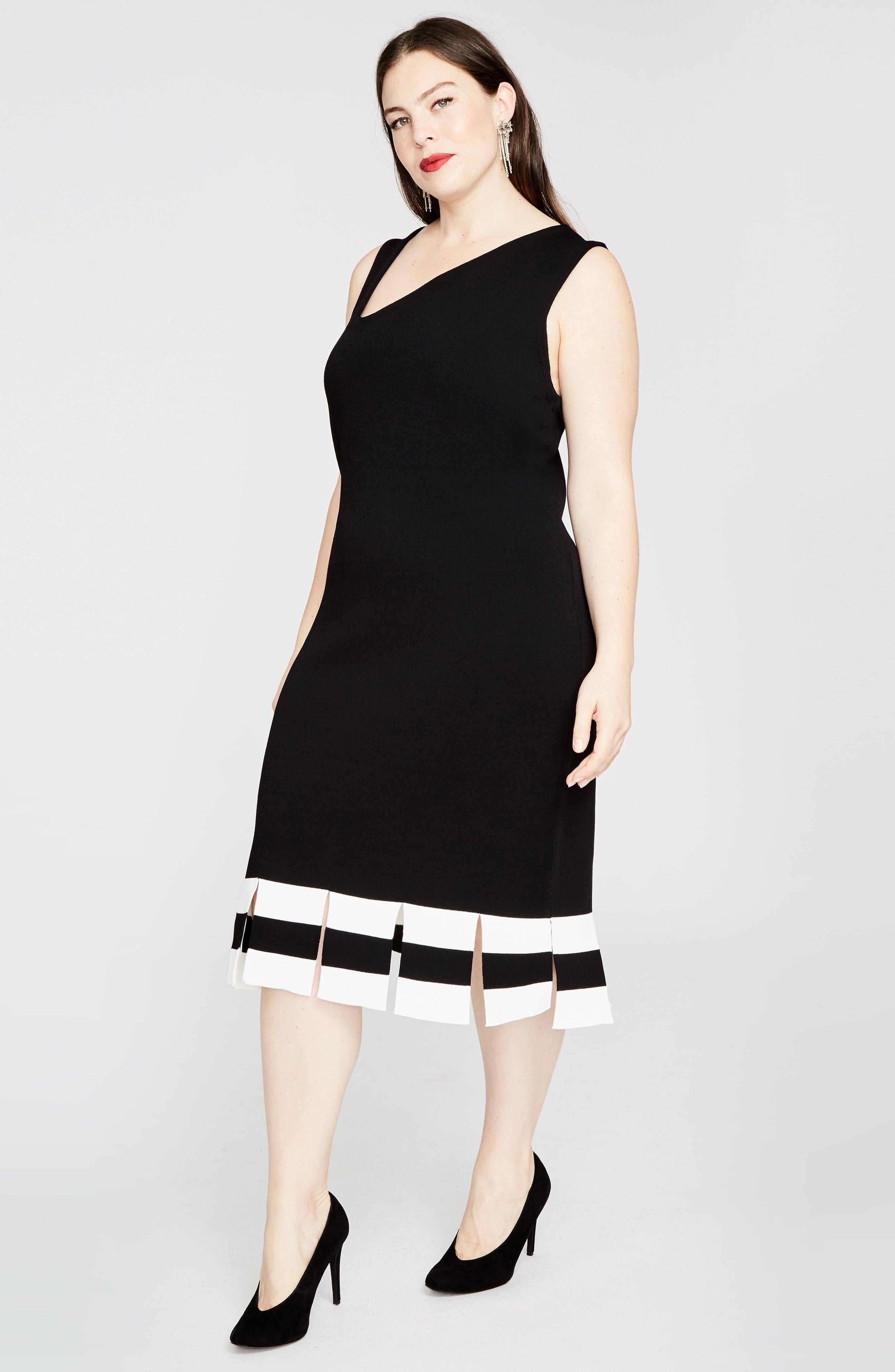 Stripe Carwash Hem Dress,                             Alternate thumbnail 4, color,                             001