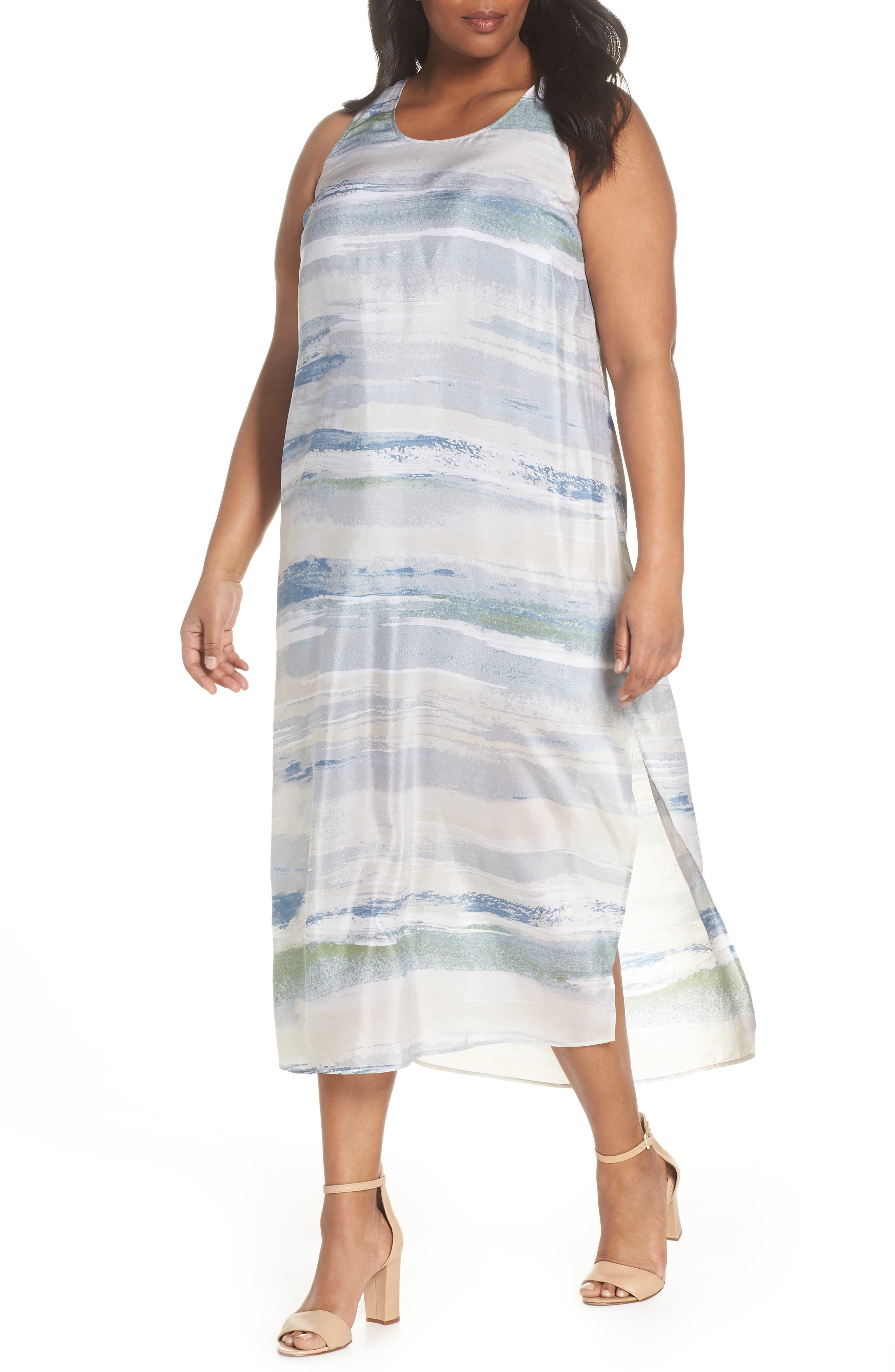 Watercolor Silk Blend Sleeveless Dress,                             Main thumbnail 1, color,