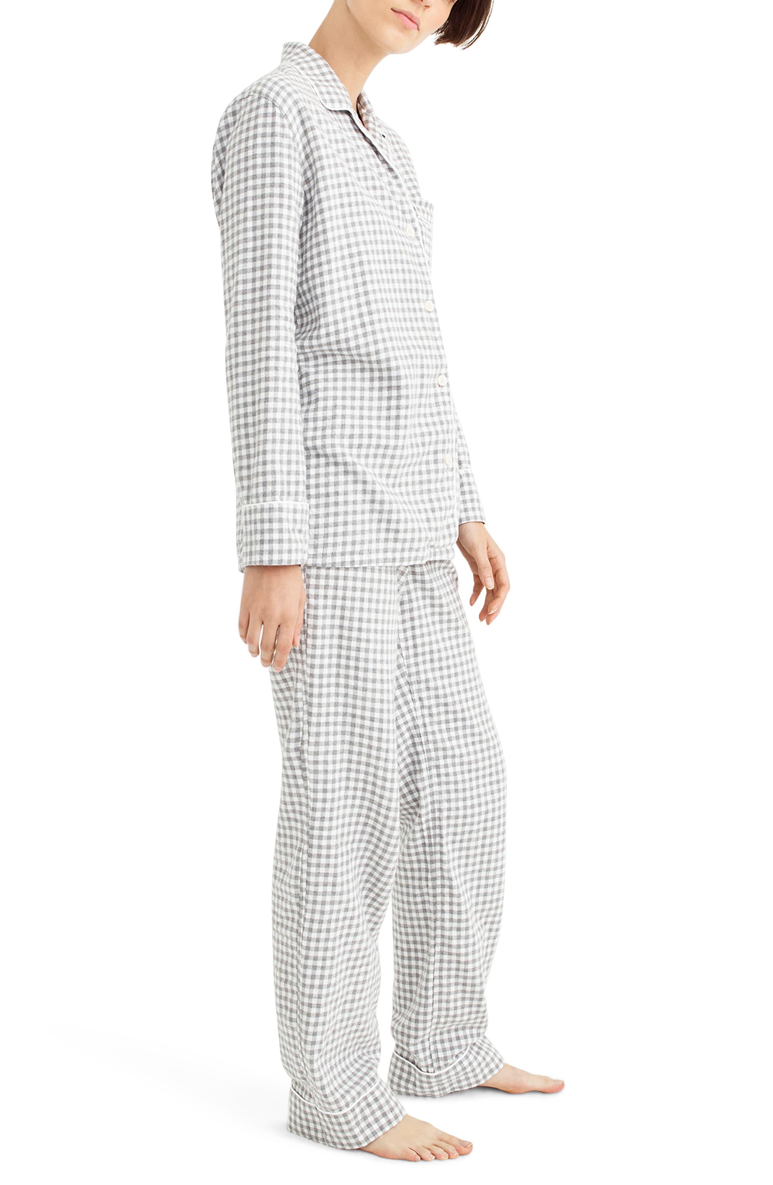 Gingham Flannel Pajamas,                             Alternate thumbnail 3, color,                             090