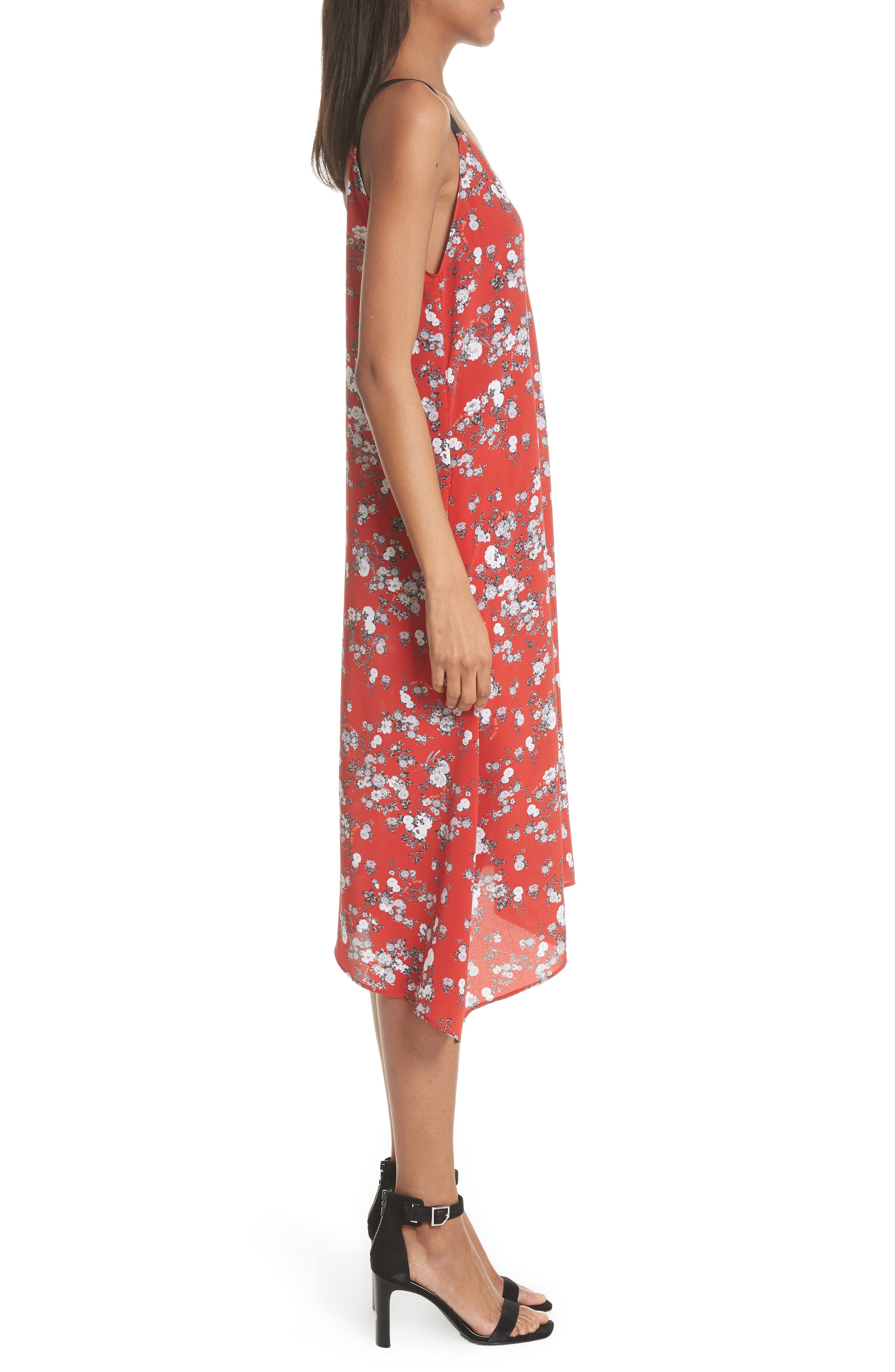 Zoe Floral Print Silk Dress,                             Alternate thumbnail 3, color,                             RED GARDEN FLORAL