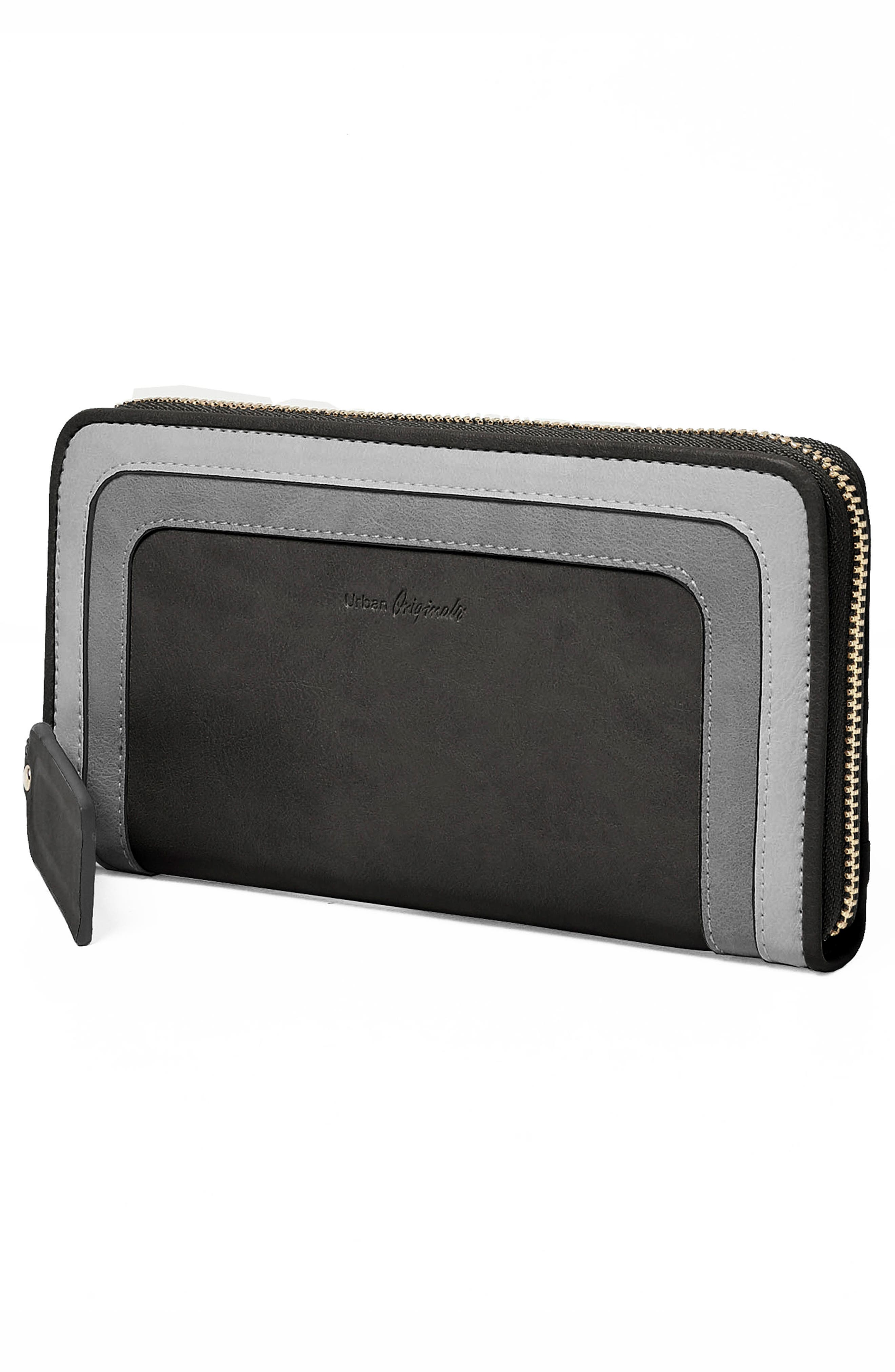 Drama Queen Faux Leather Zip Wallet,                             Alternate thumbnail 3, color,                             001