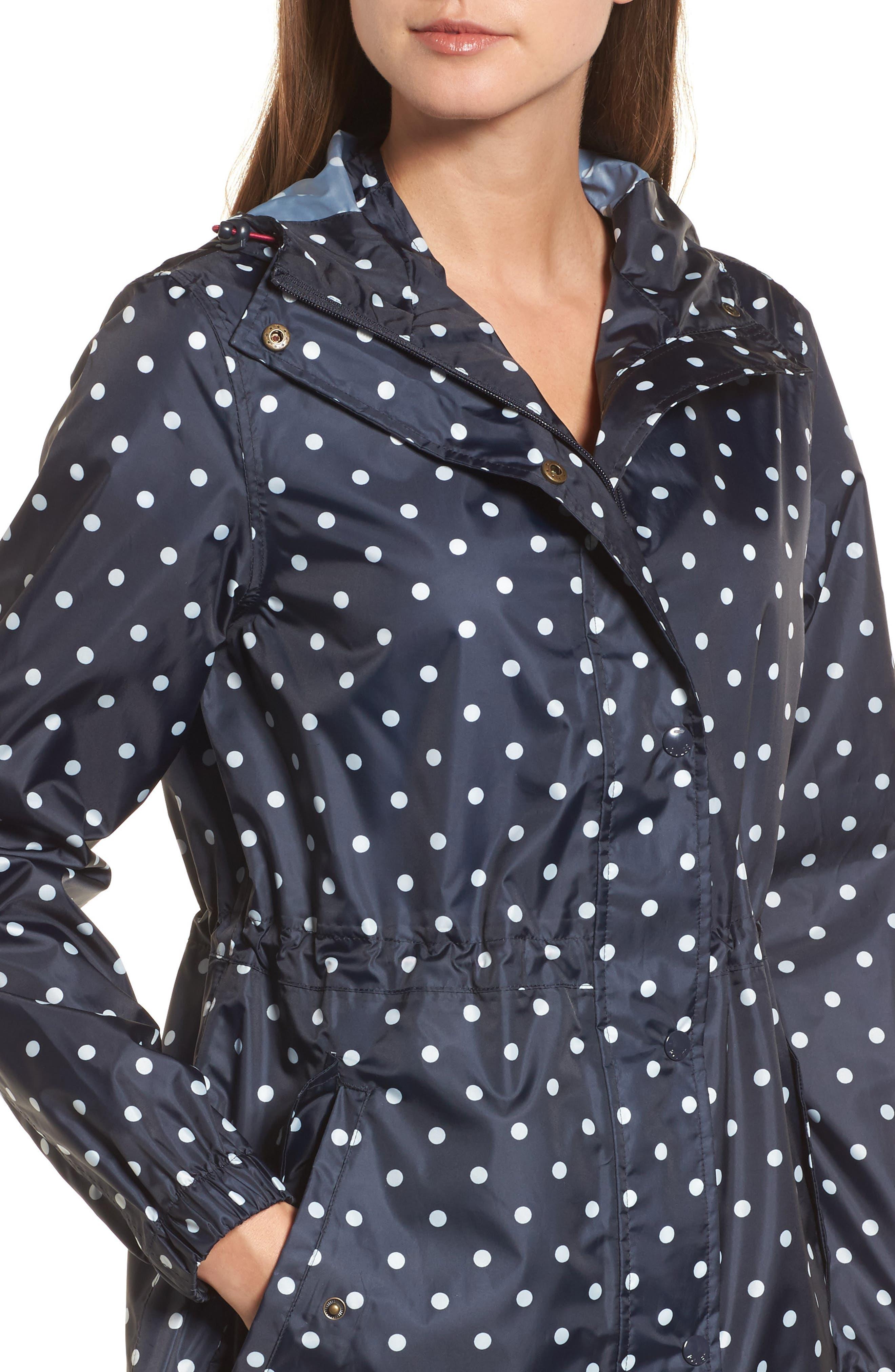 Right as Rain Packable Print Hooded Raincoat,                             Alternate thumbnail 4, color,                             NAVY SPOT