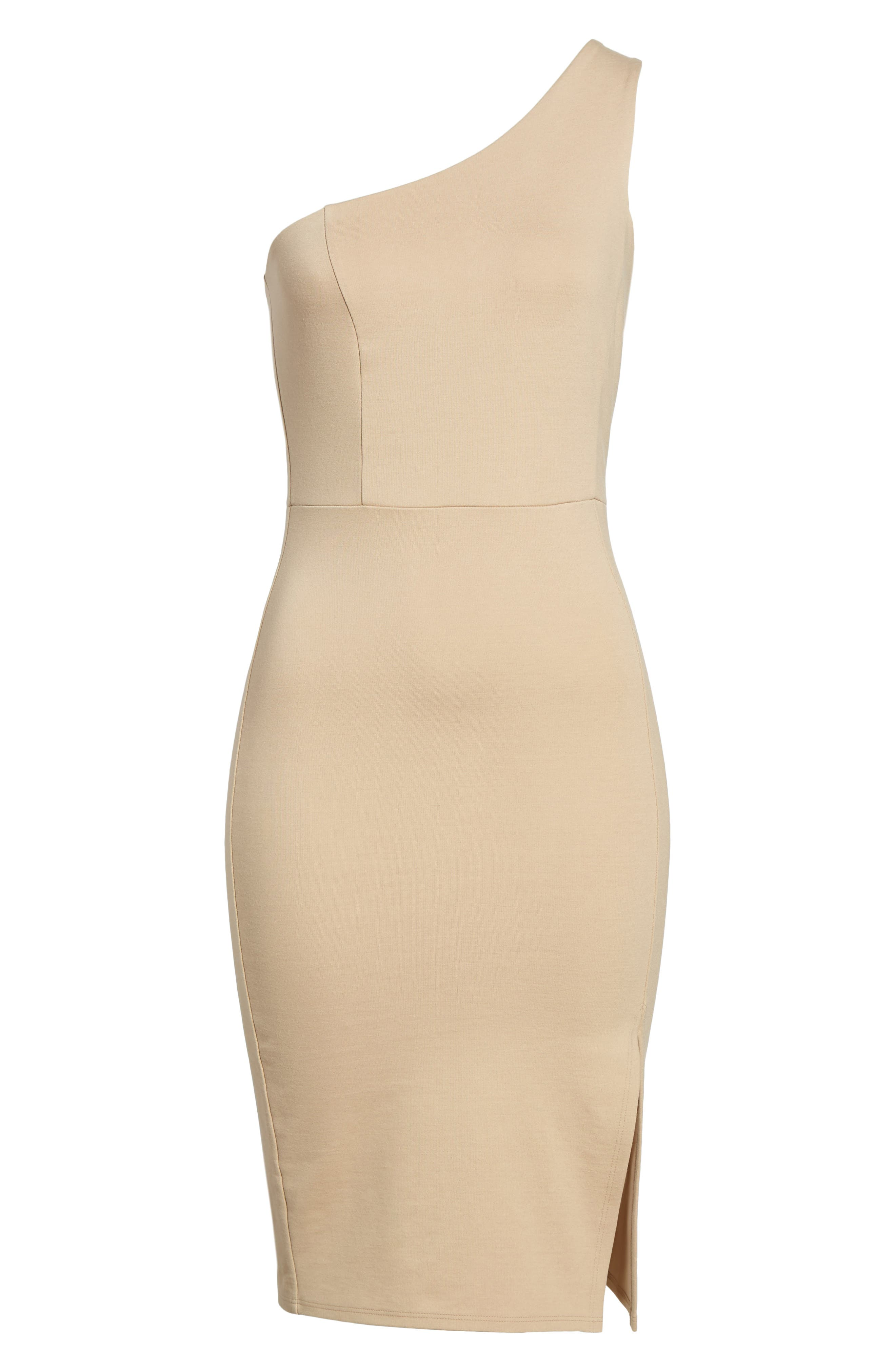 One-Shoulder Body-Con Dress,                             Alternate thumbnail 17, color,
