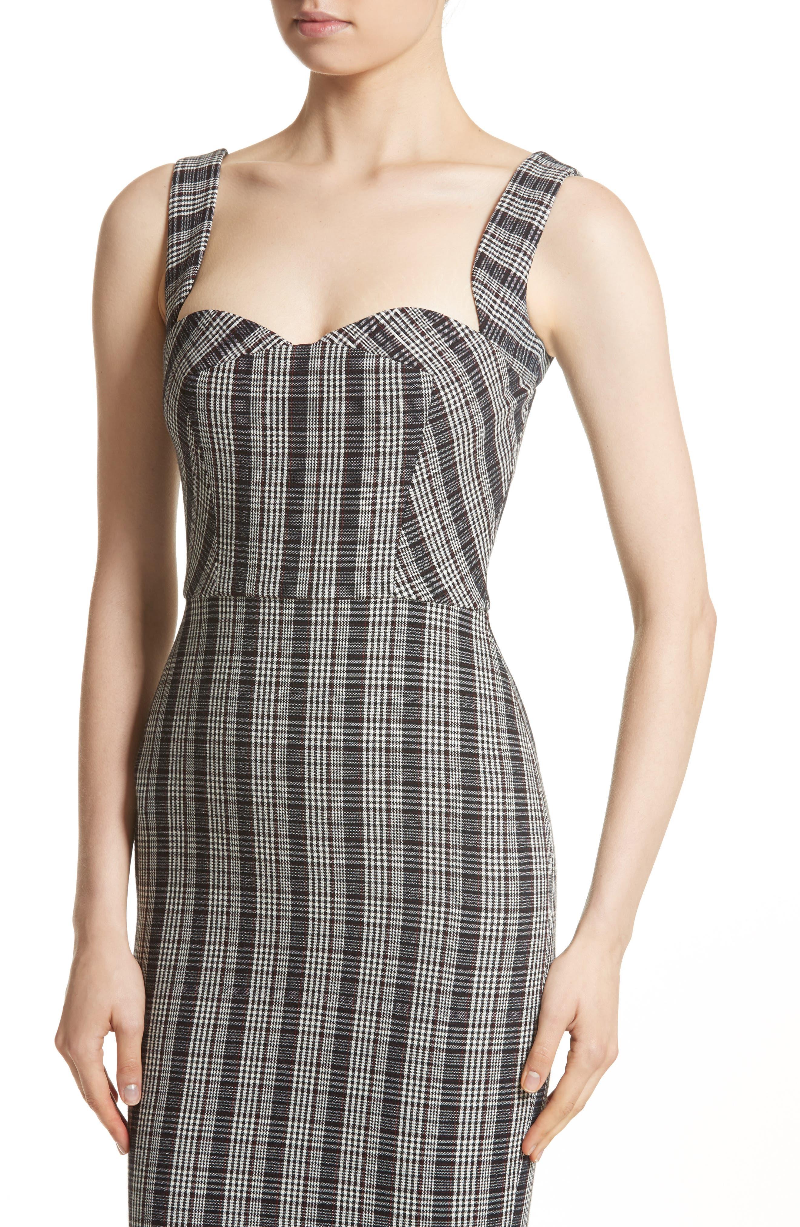 Plaid Curve Cami Dress,                             Alternate thumbnail 4, color,                             001