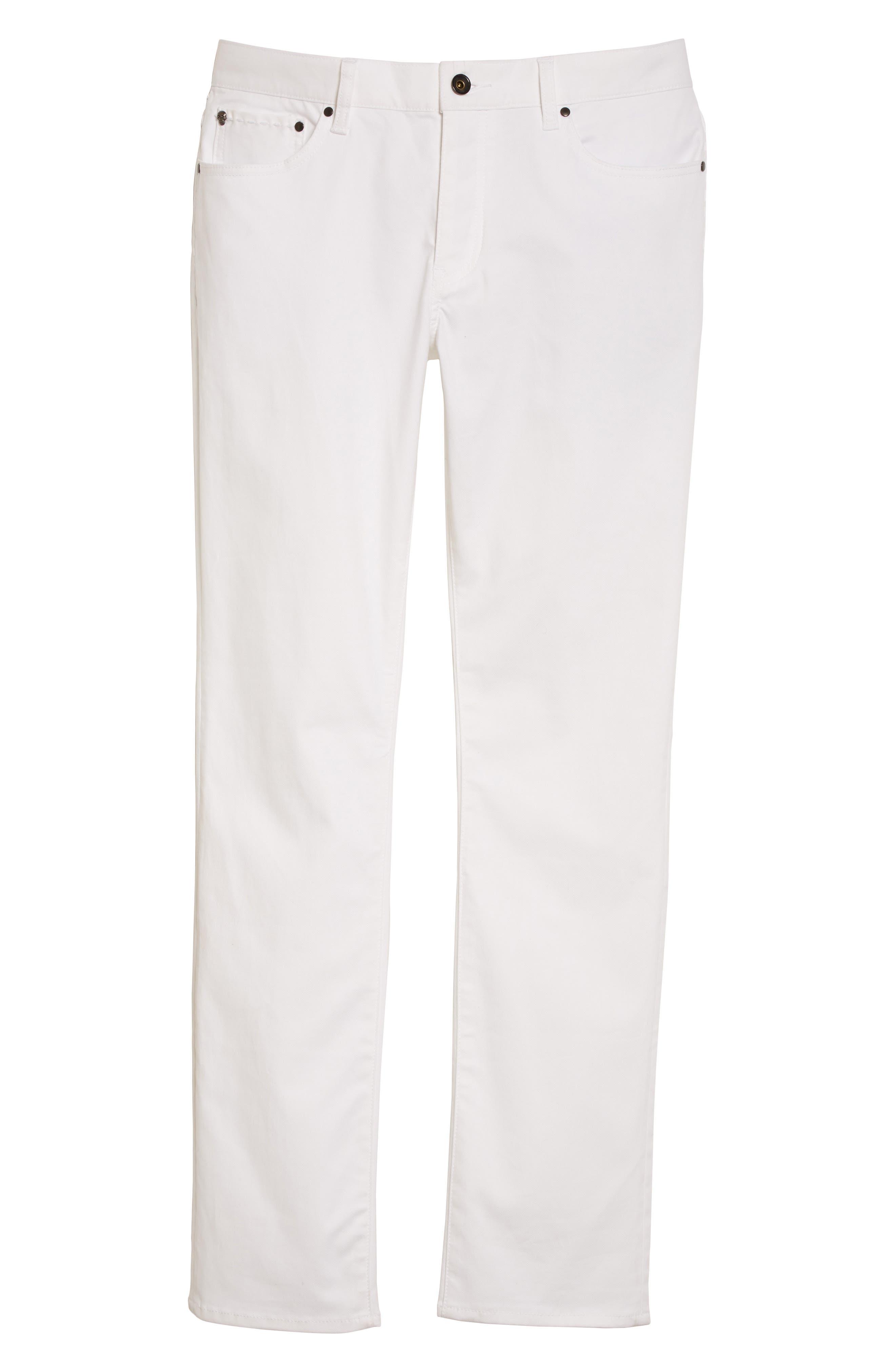 Slim Fit Five Pocket Pants,                             Alternate thumbnail 6, color,                             WHITE