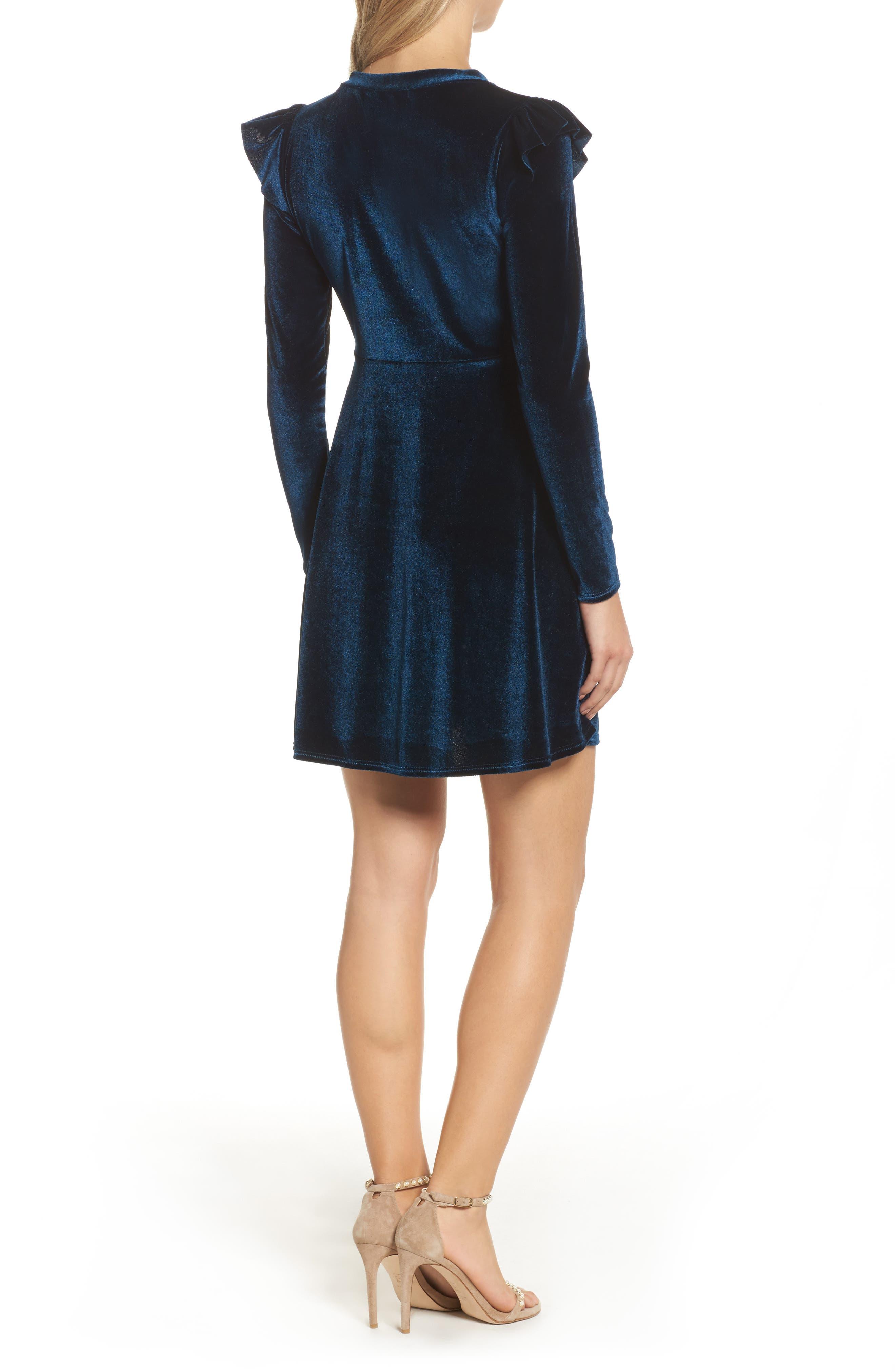 Velvet Fit & Flare Dress,                             Alternate thumbnail 3, color,