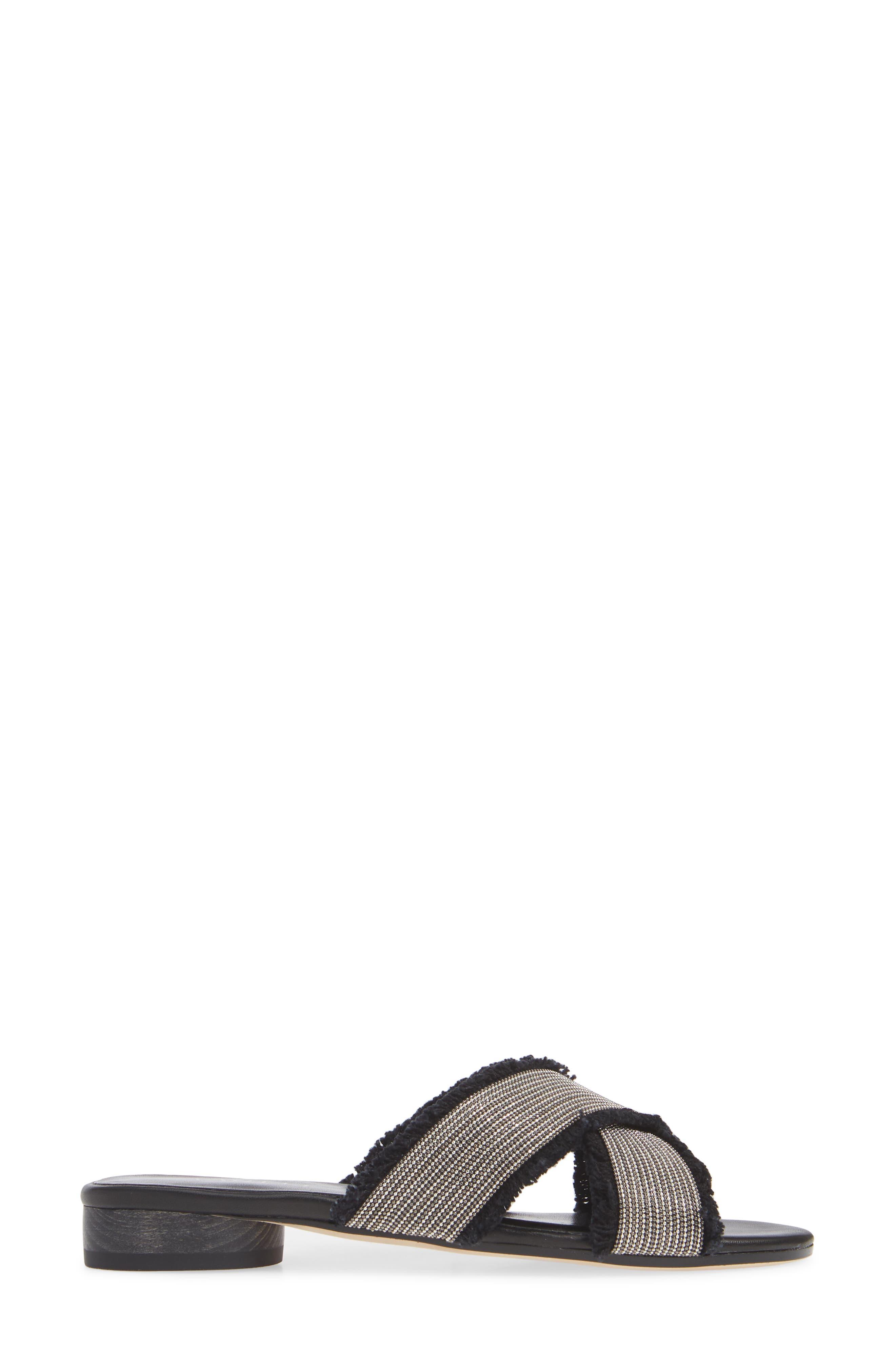 Baret Slide Sandal,                             Alternate thumbnail 3, color,                             BLACK FABRIC