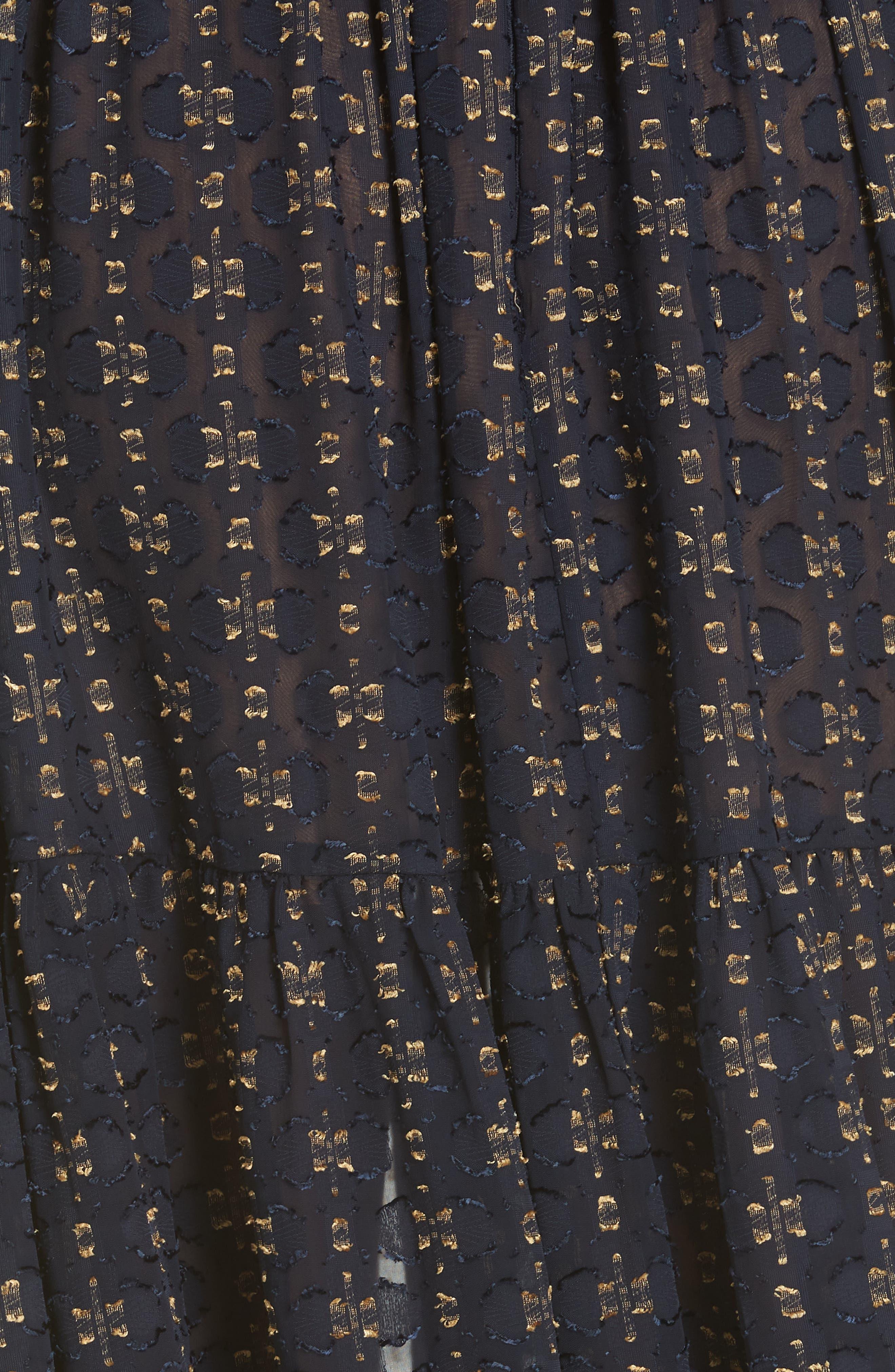 Floral Fil Coupé Maxi Dress,                             Alternate thumbnail 5, color,                             400