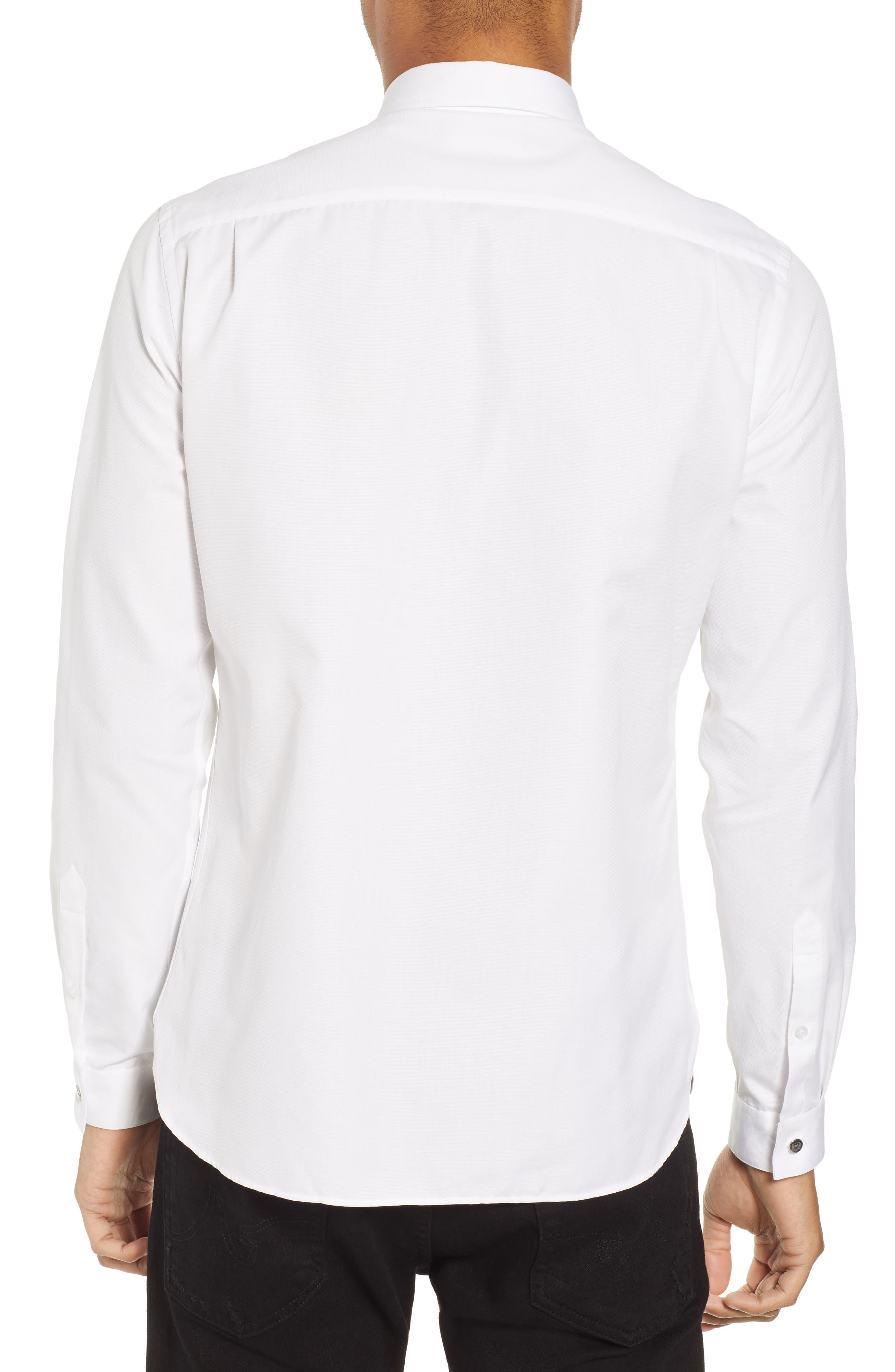 Slim Fit Skull Appliqué Sport Shirt,                             Alternate thumbnail 2, color,                             100