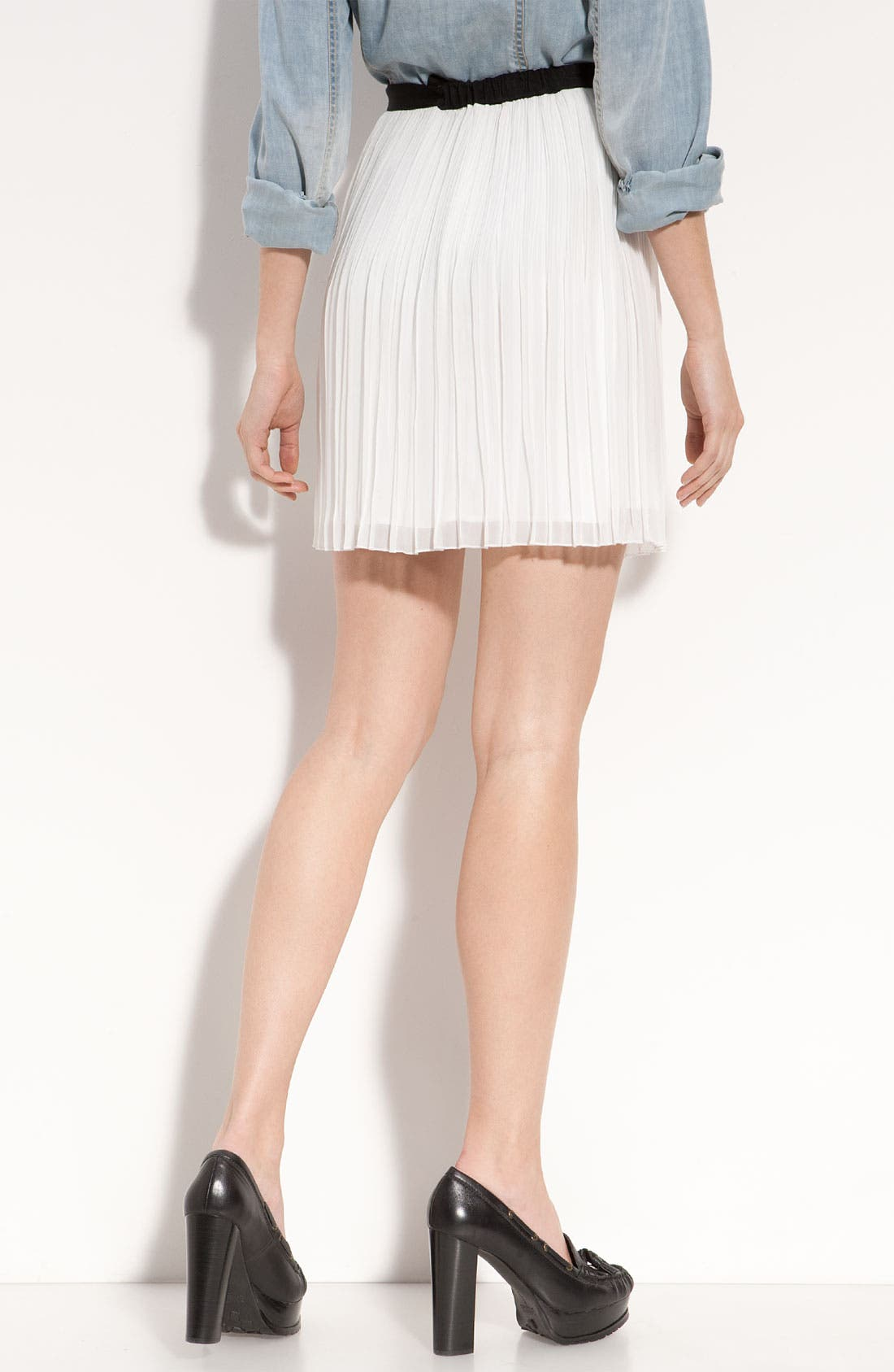 Pleated Chiffon Miniskirt,                             Alternate thumbnail 3, color,                             250