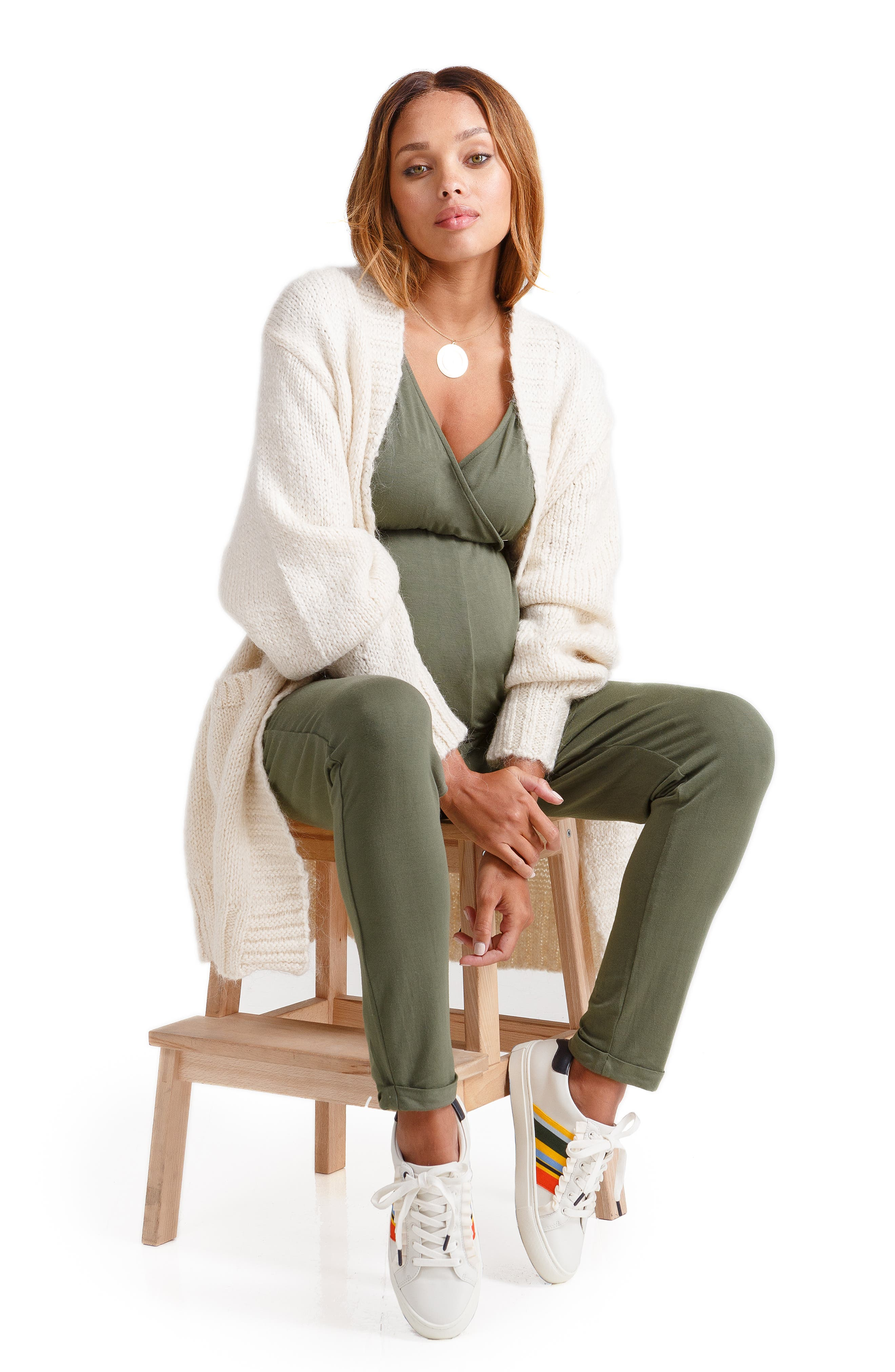 Crossover Maternity Jumpsuit,                             Alternate thumbnail 4, color,                             OLIVE