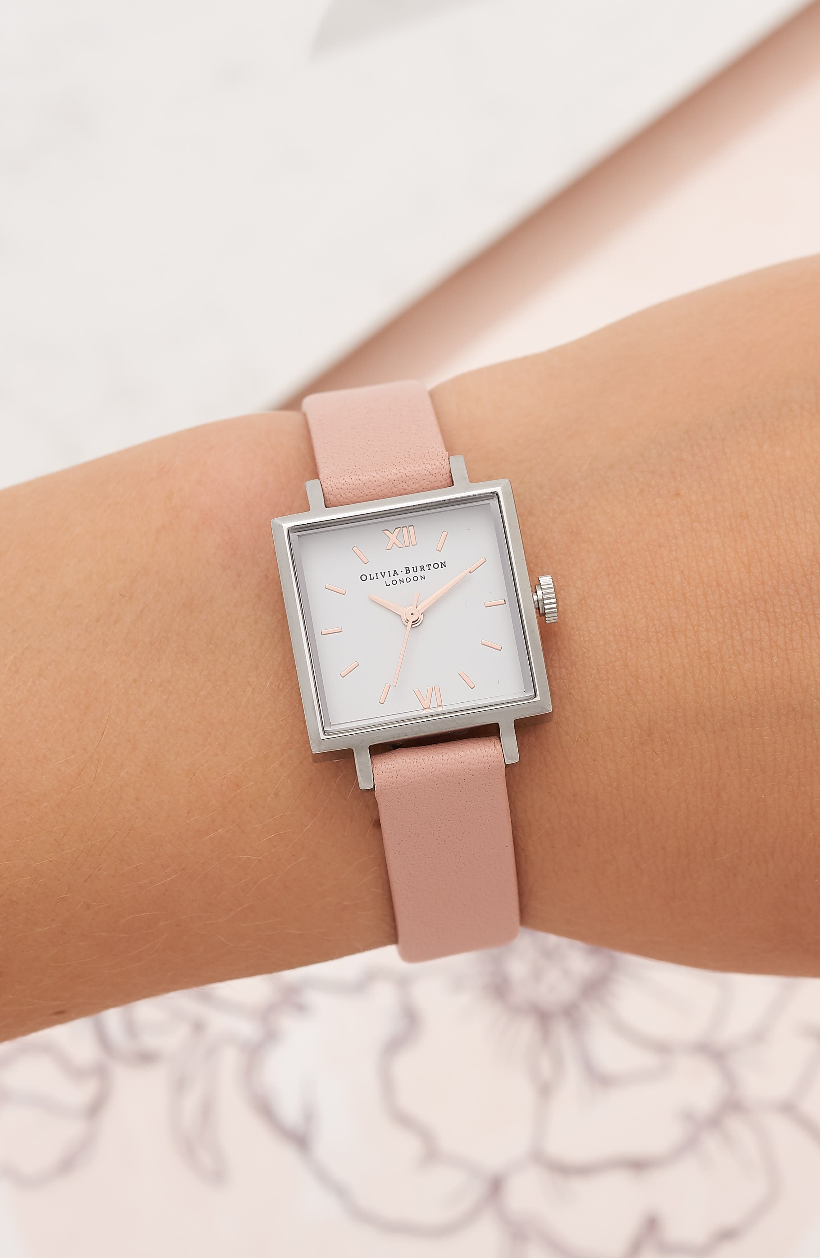 Square Leather Strap Watch, 23mm,                             Alternate thumbnail 6, color,
