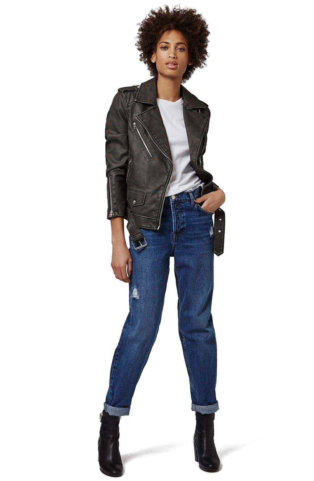 'Mahoney' Faux Leather Biker Jacket,                             Alternate thumbnail 6, color,                             001