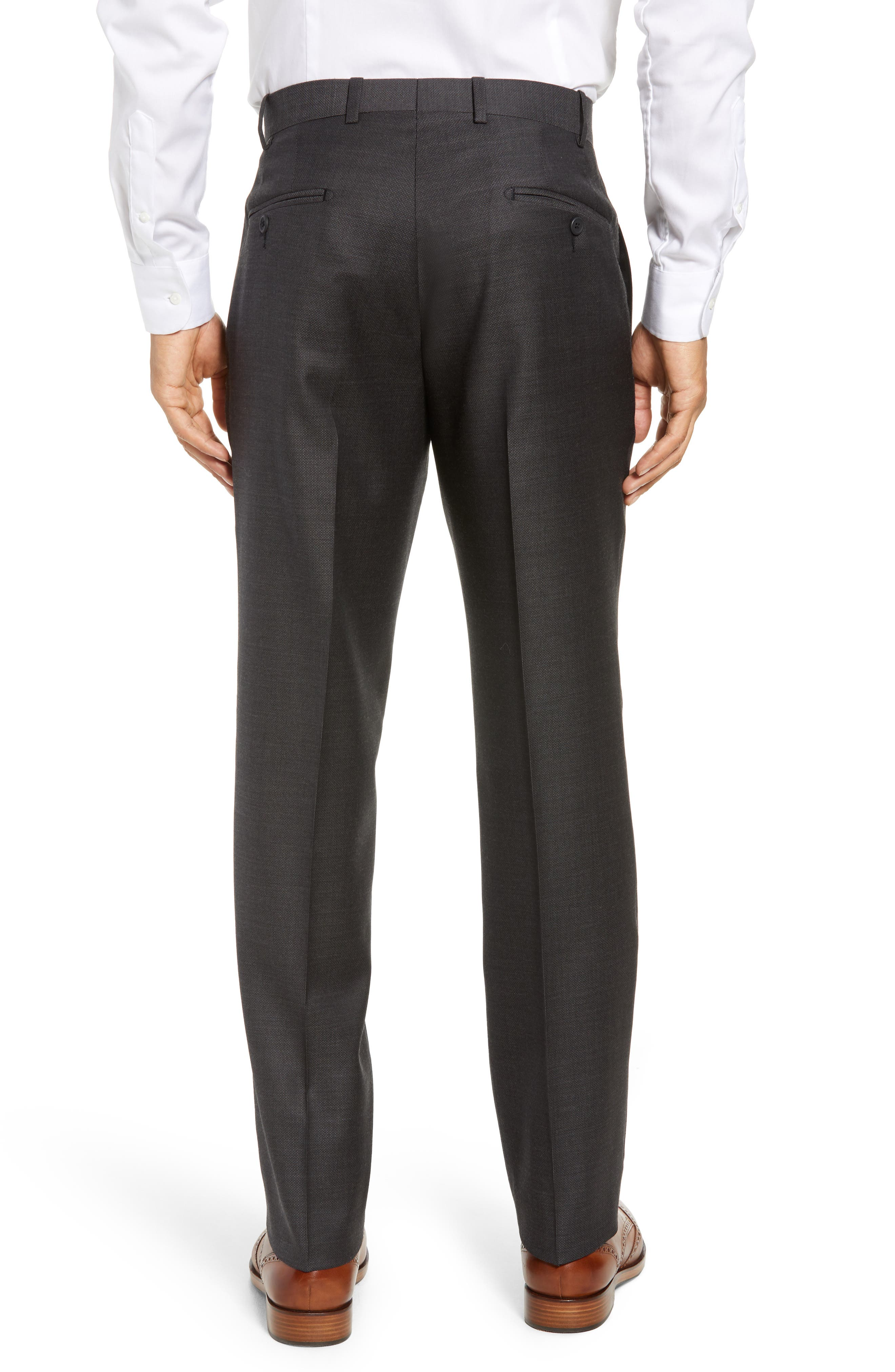 Torino Traditional Fit Flat Front Solid Wool Trousers,                             Alternate thumbnail 2, color,                             BLACK