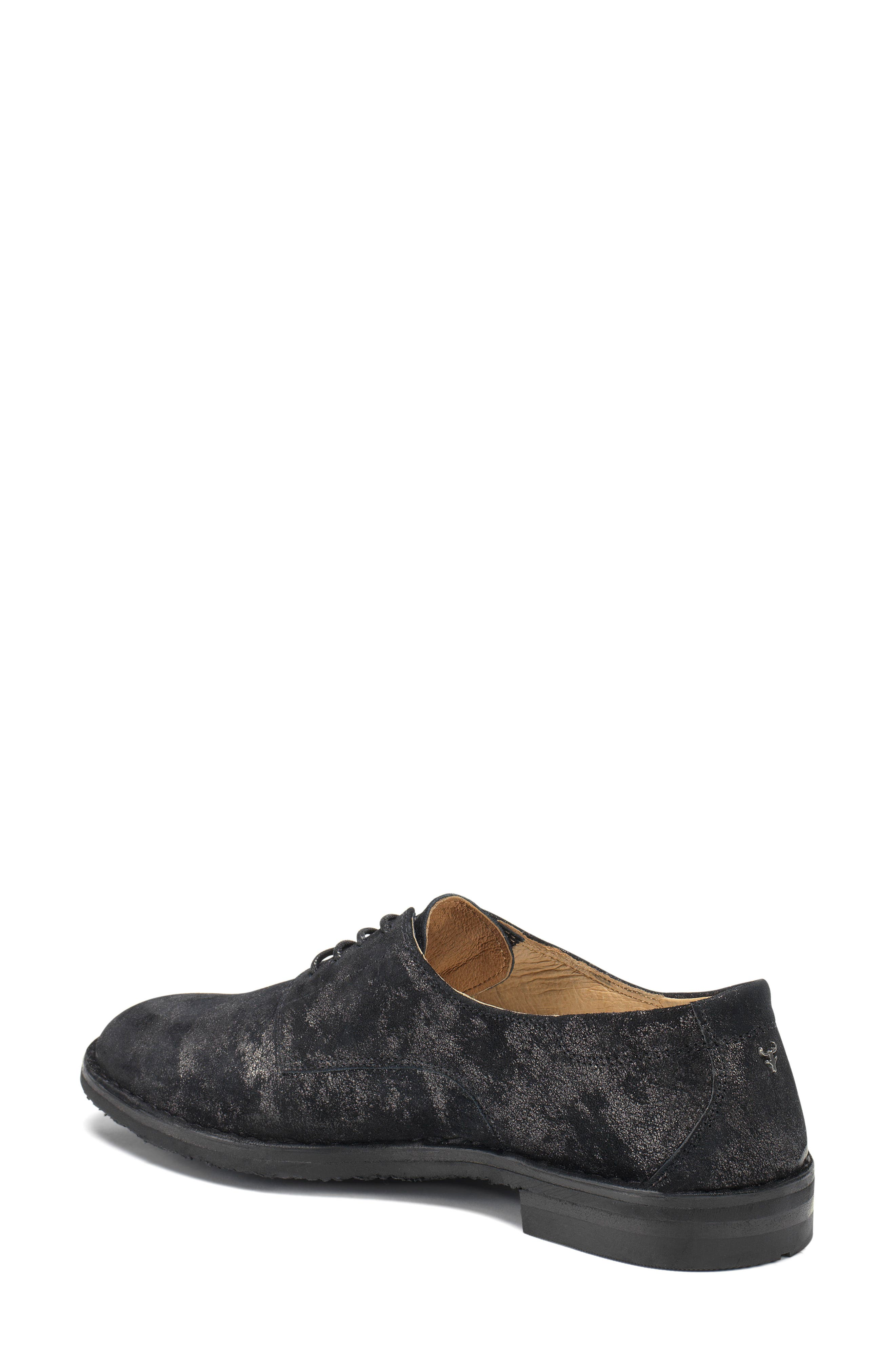 'Ana' Metallic Leather Oxford,                             Alternate thumbnail 2, color,                             BLACK SUEDE