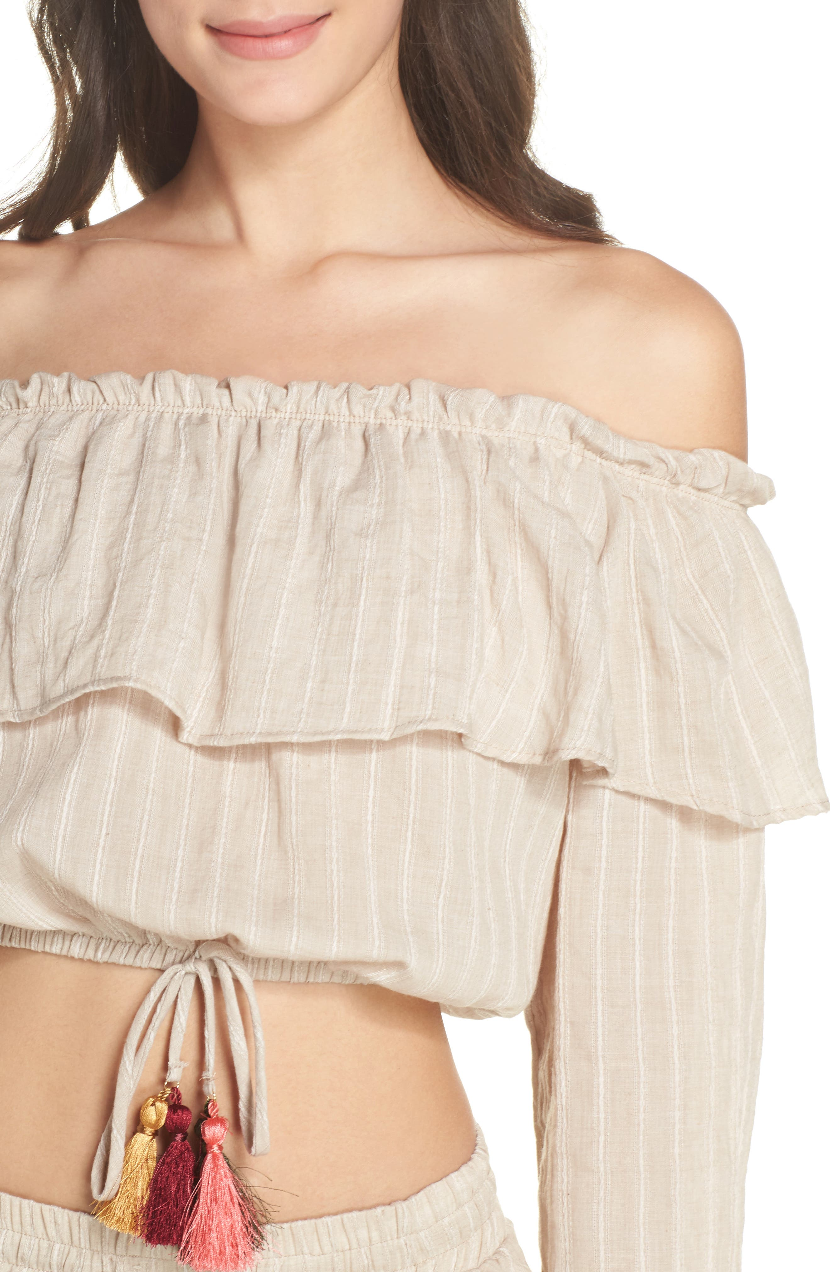 Ruffle Cover-Up Top,                             Alternate thumbnail 4, color,                             250