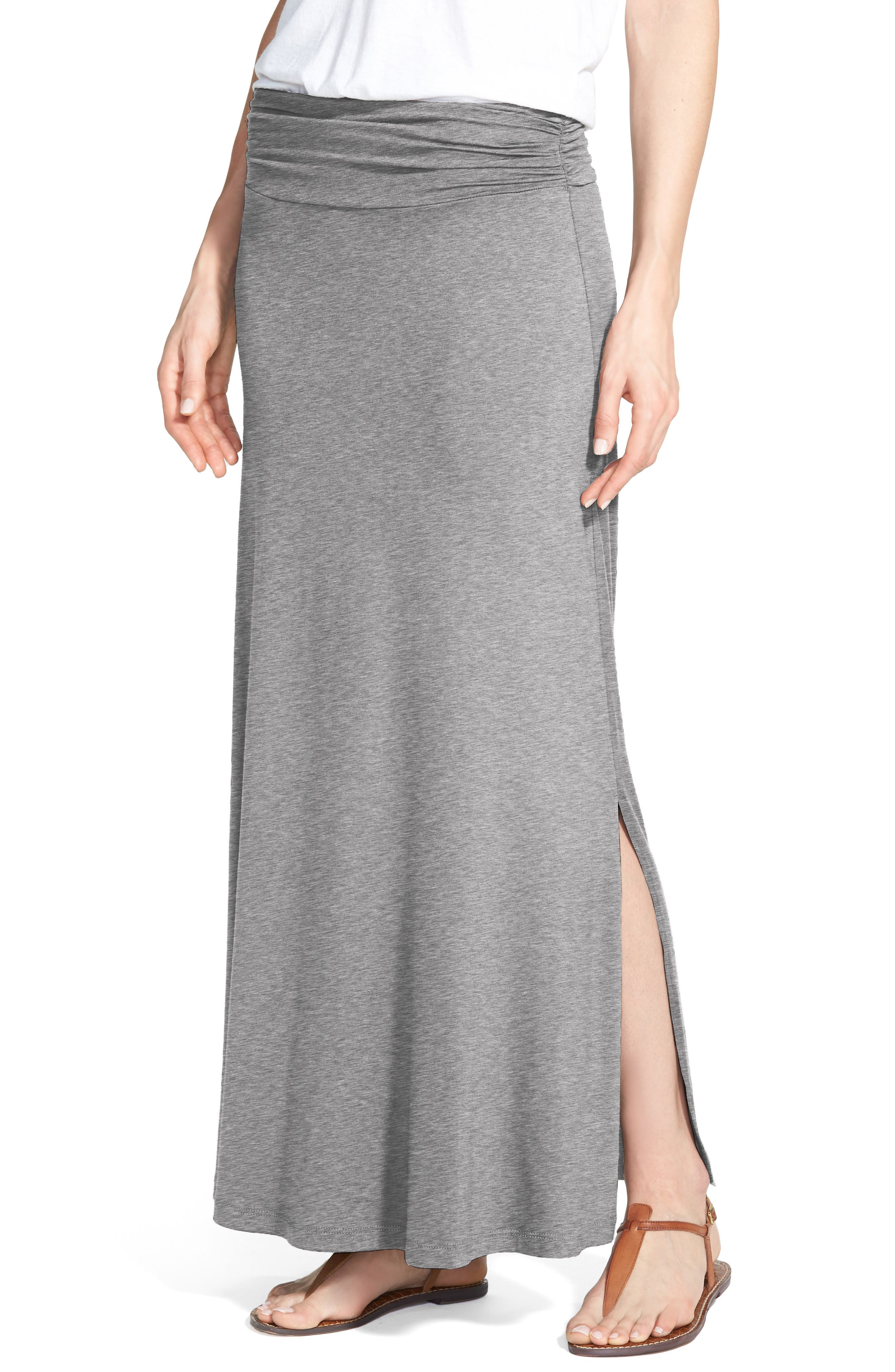Bobeau Ruched Waist Side Slit Maxi Skirt, Grey