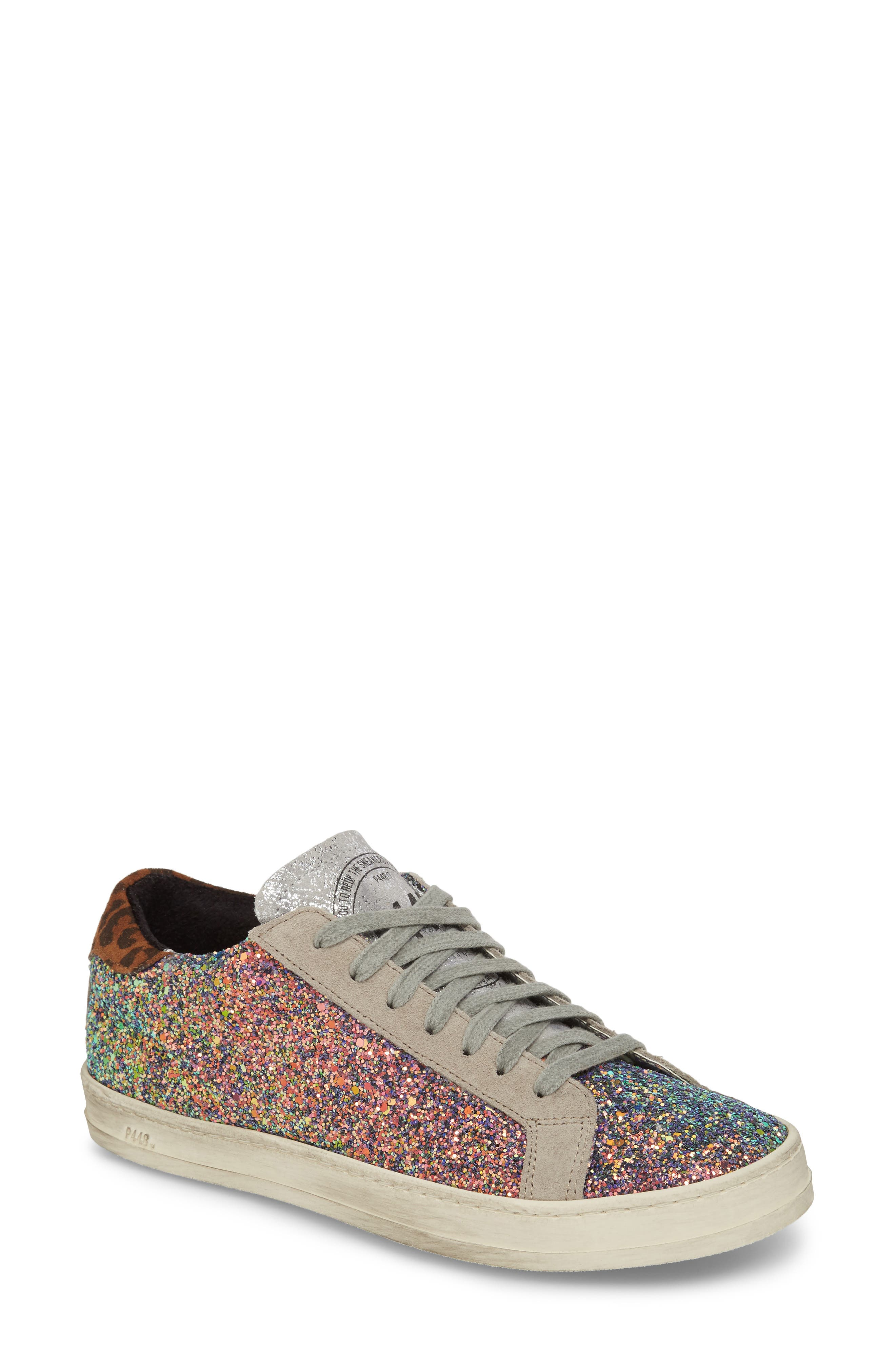 P448 Women'S John Glitter & Suede Lace Up Sneakers in Multicolor