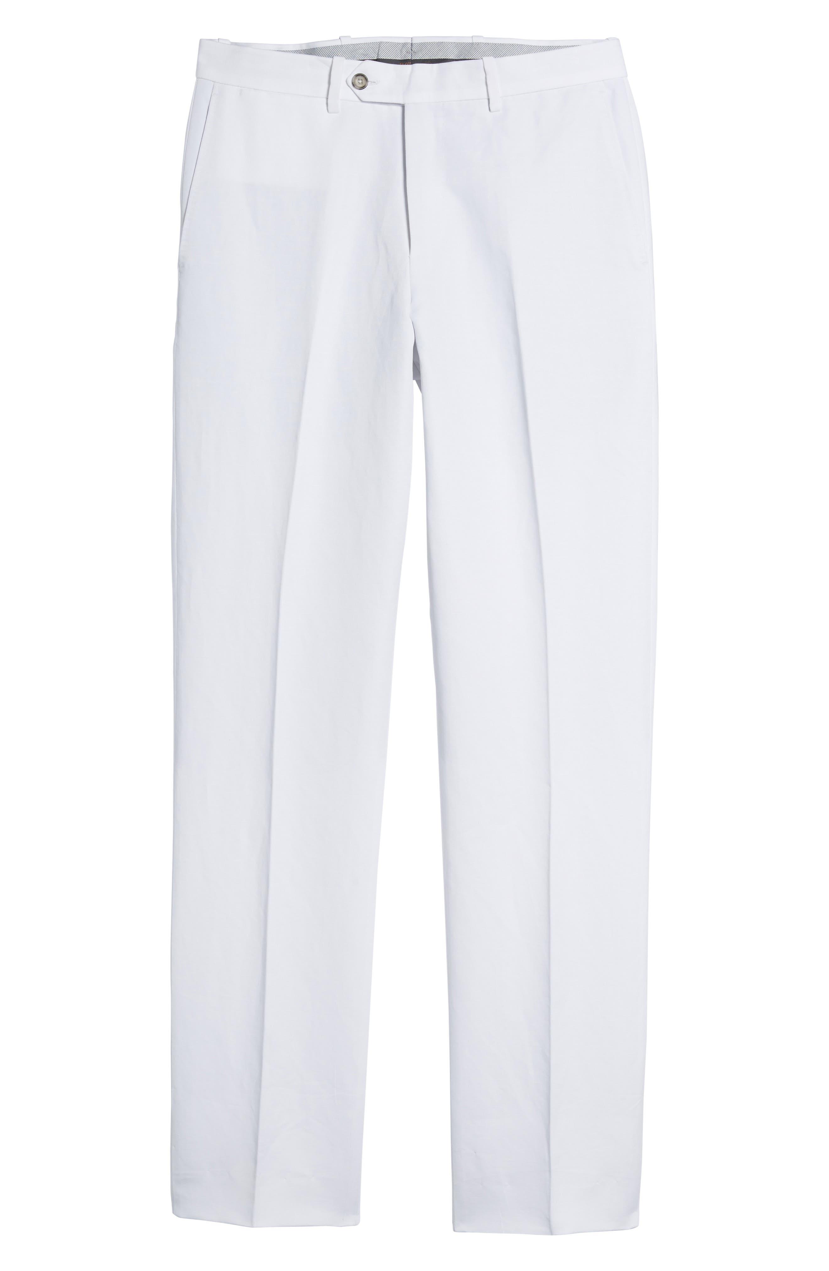 Flat Front Solid Cotton & Linen Trousers,                             Alternate thumbnail 22, color,