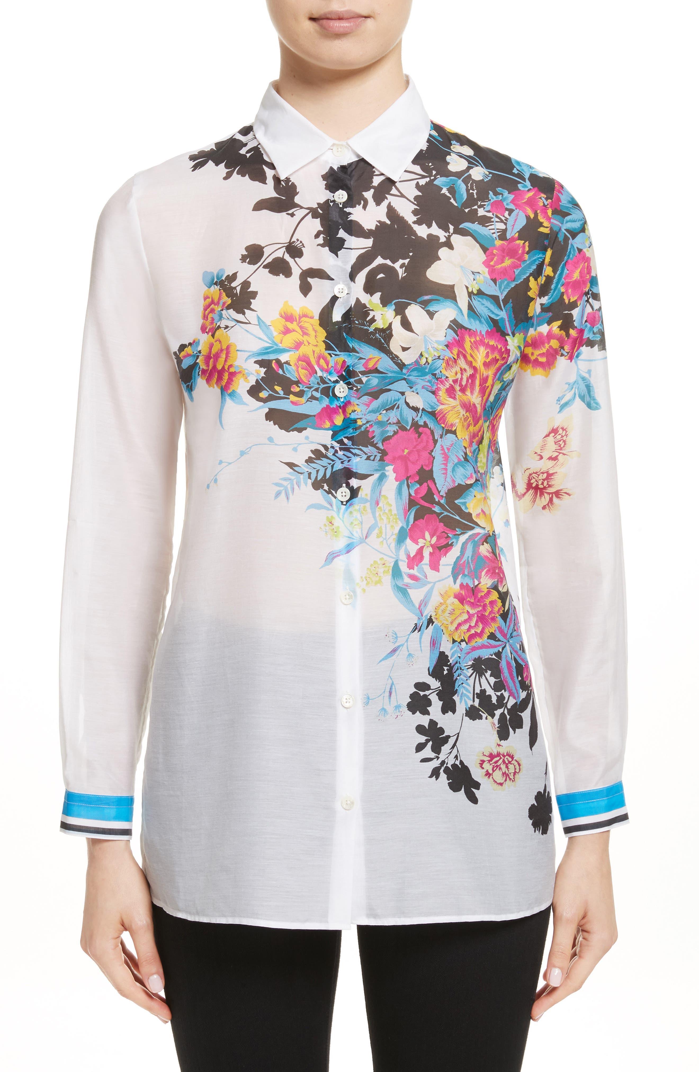 Floral Print Cotton & Silk Blouse,                             Main thumbnail 1, color,                             100