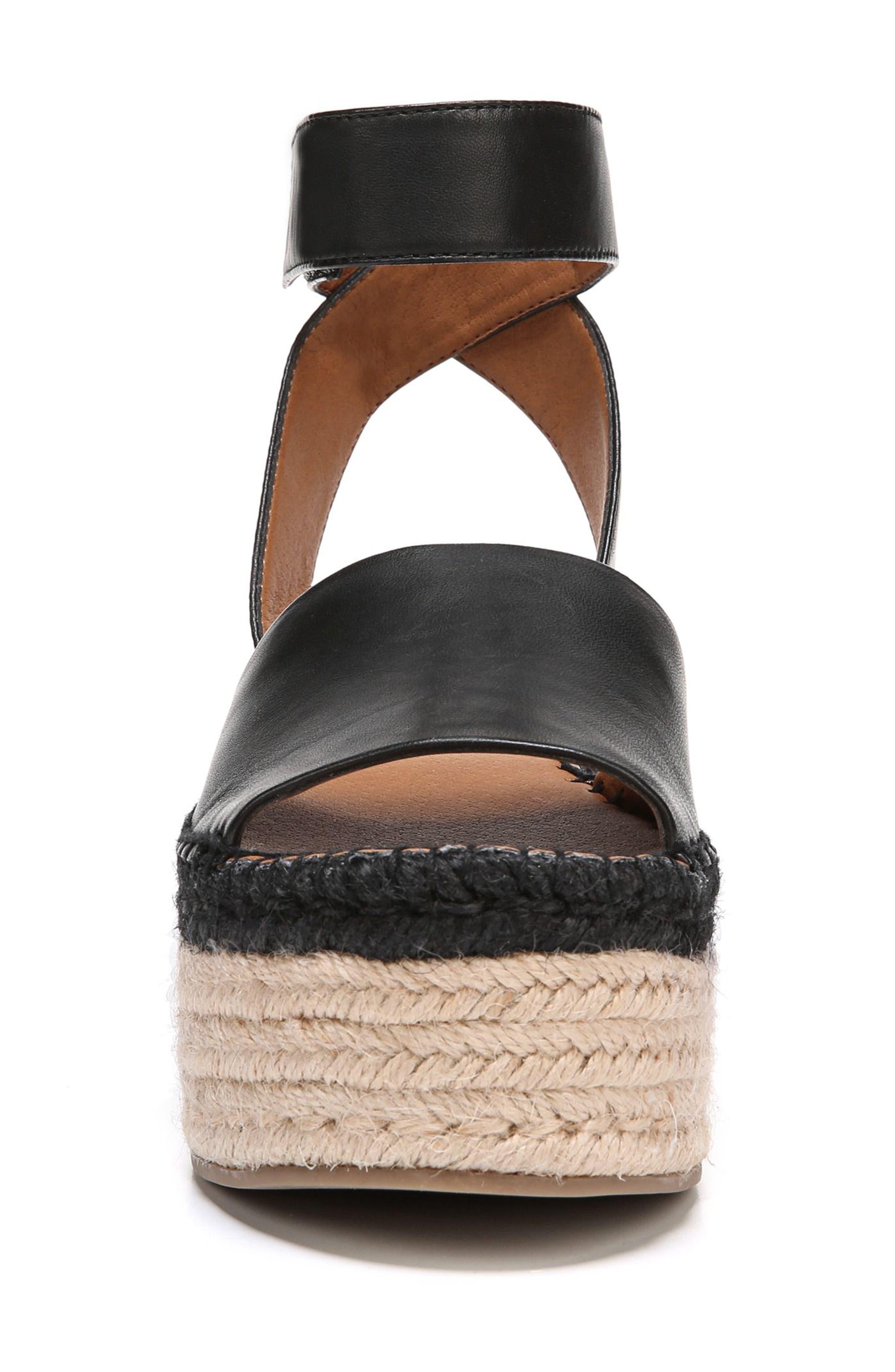 Maisi Platform Espadrille Sandal,                             Alternate thumbnail 4, color,                             BLACK LEATHER