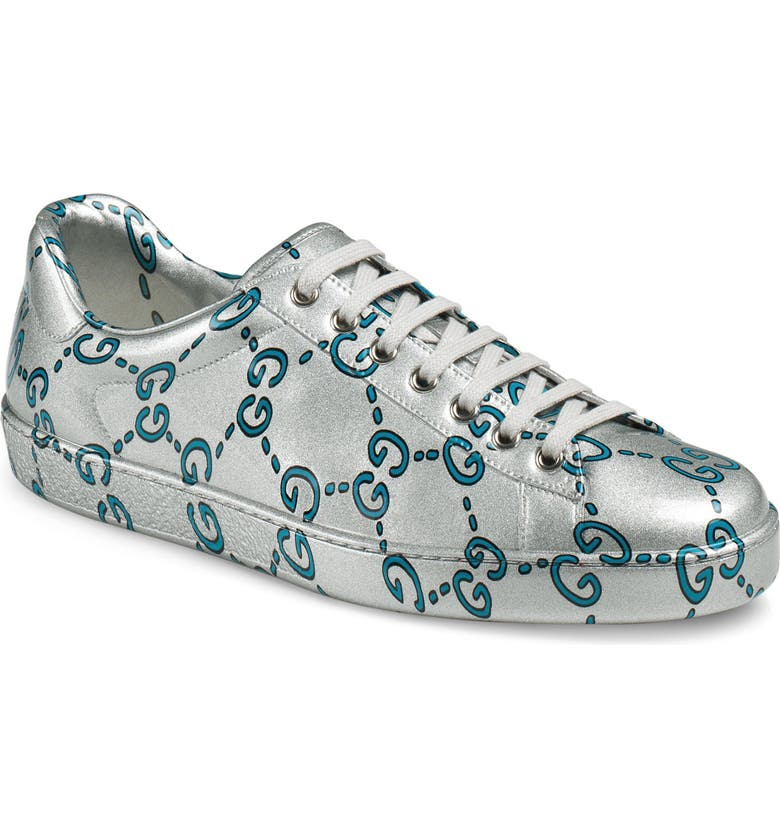36b10408b Gucci Men's Ace Gg Coated Leather Sneakers In Silver   ModeSens
