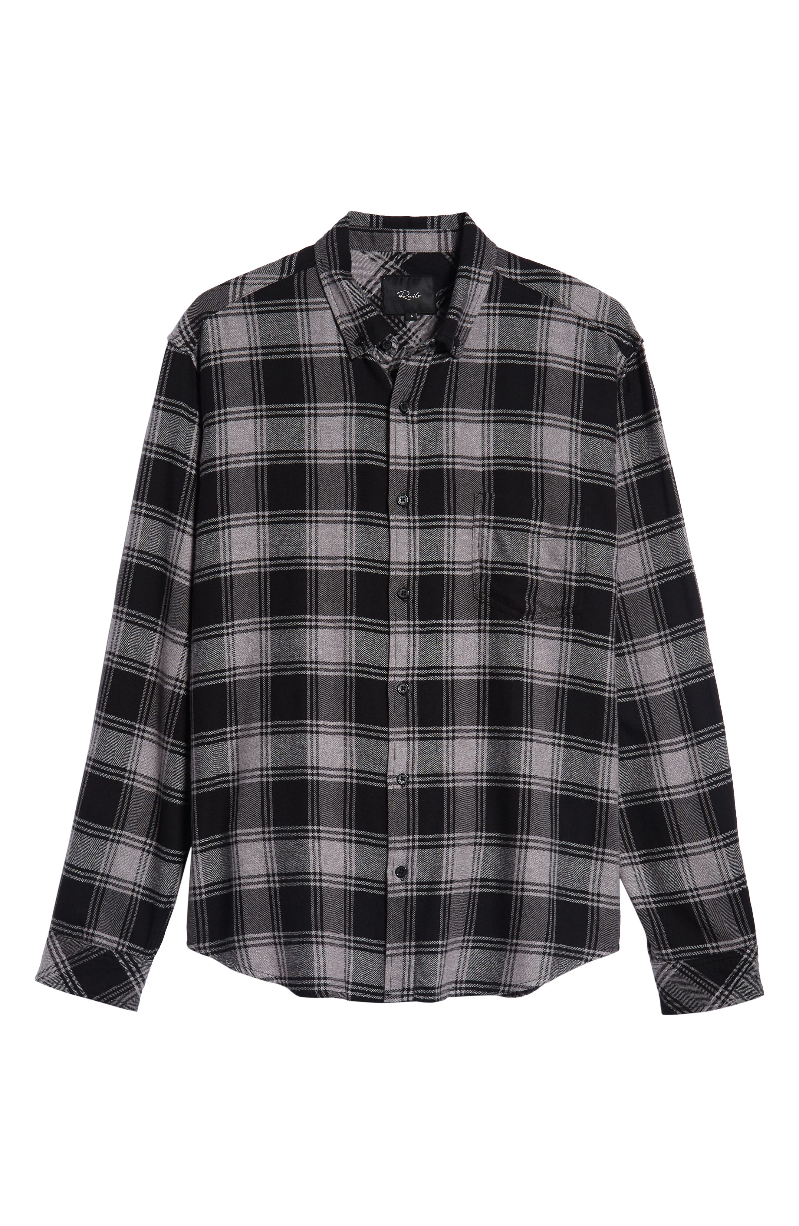 Lennox Slim Fit Plaid Sport Shirt,                             Alternate thumbnail 5, color,                             BLACK GREY