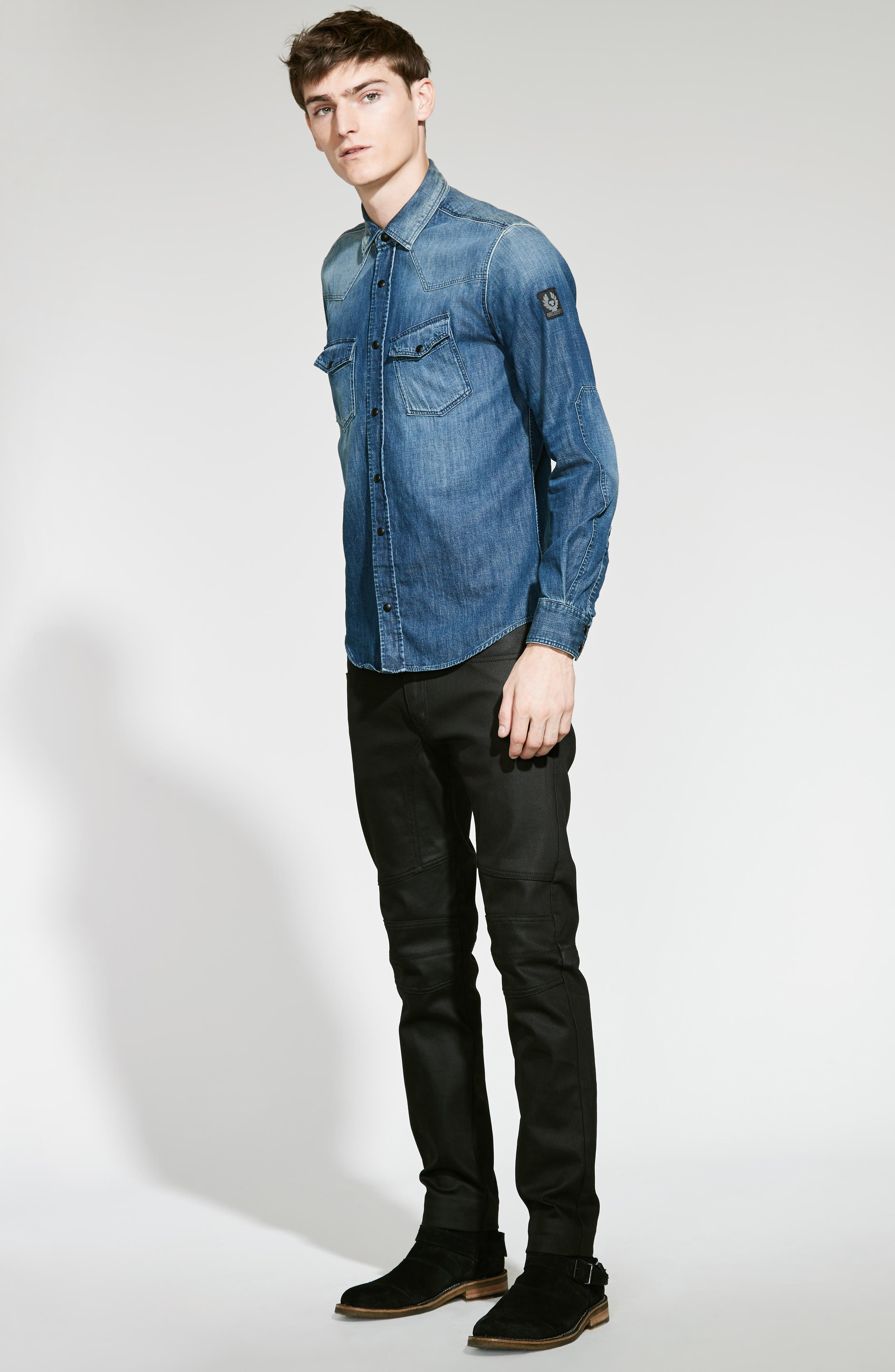 Westham Raw Stretch Denim Moto Jeans,                             Alternate thumbnail 2, color,                             001