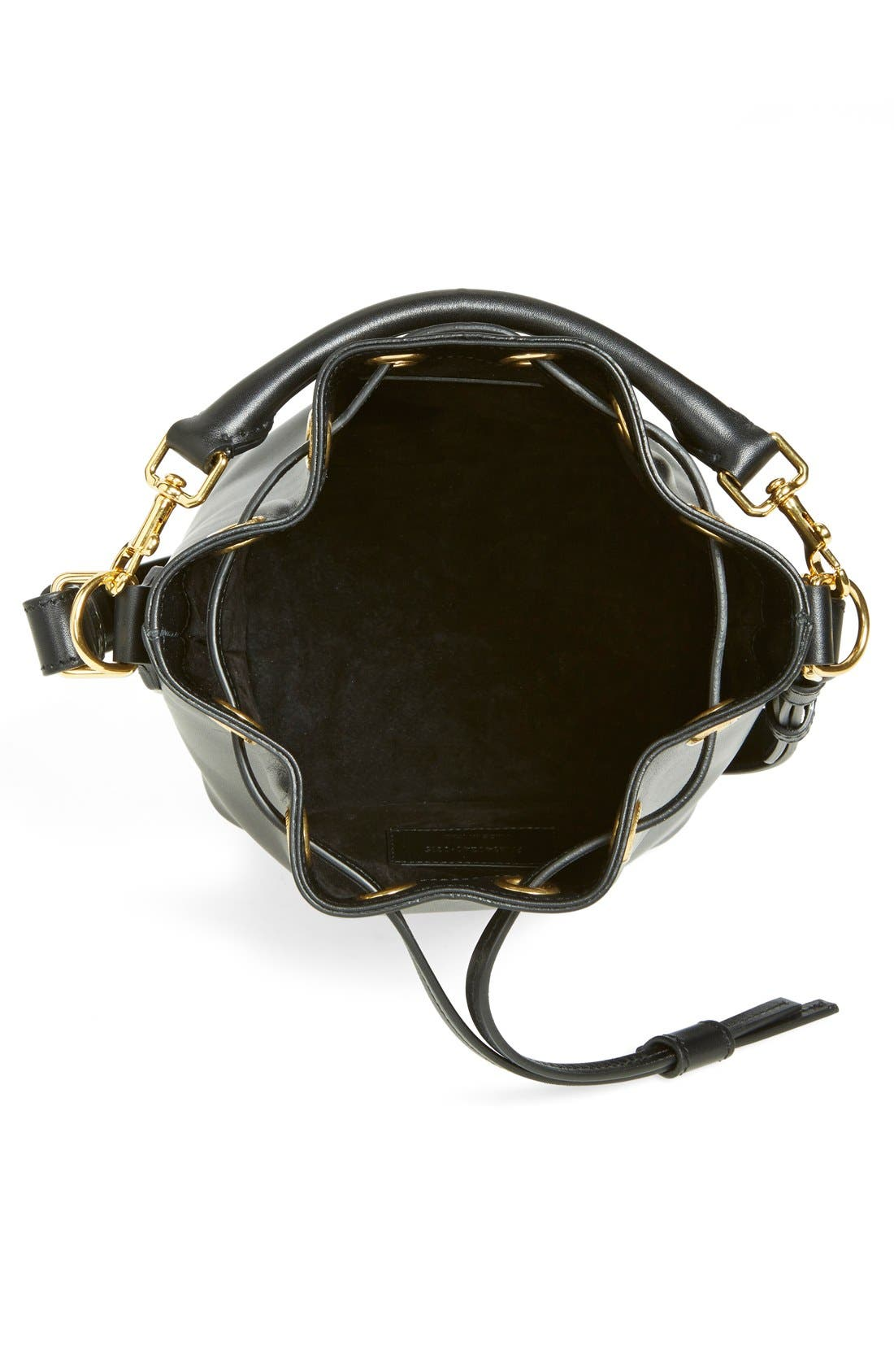 'Small' Calfskin Leather Bucket Bag,                             Alternate thumbnail 4, color,                             001