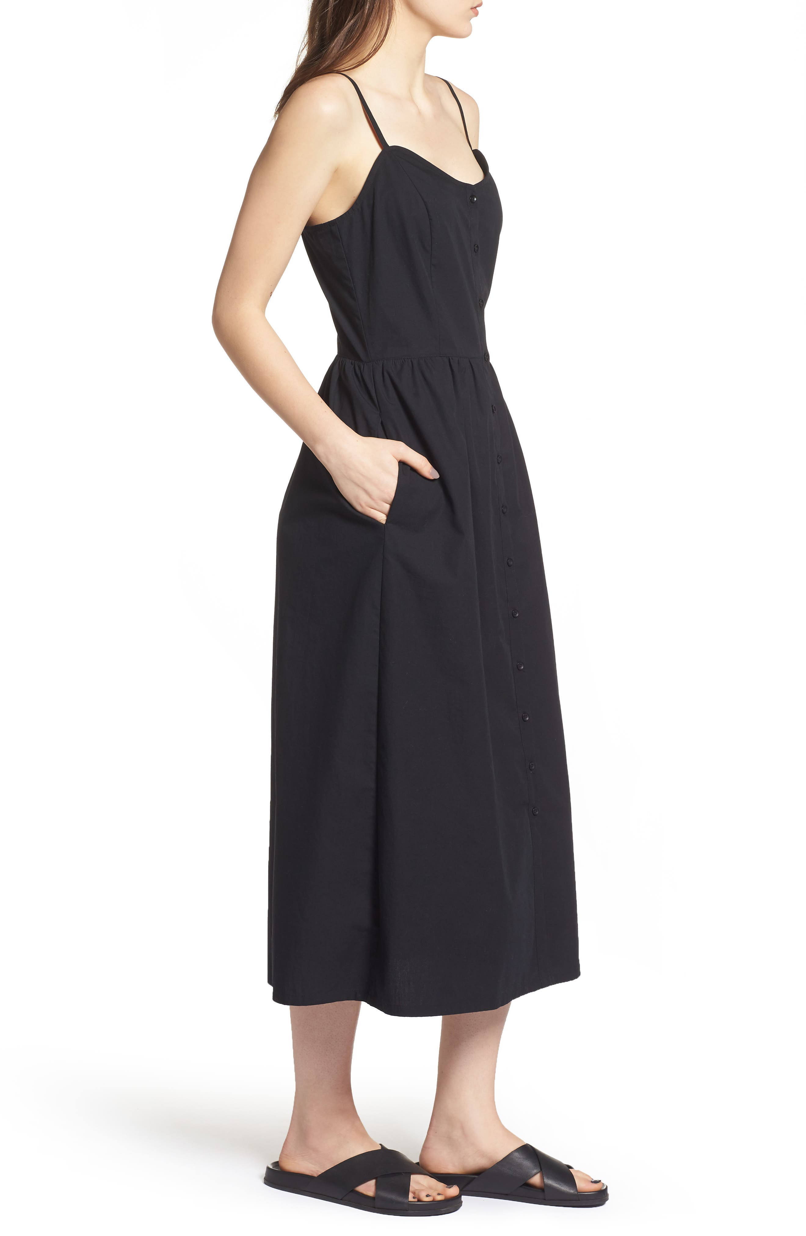 Button Front Midi Dress,                             Alternate thumbnail 3, color,                             001