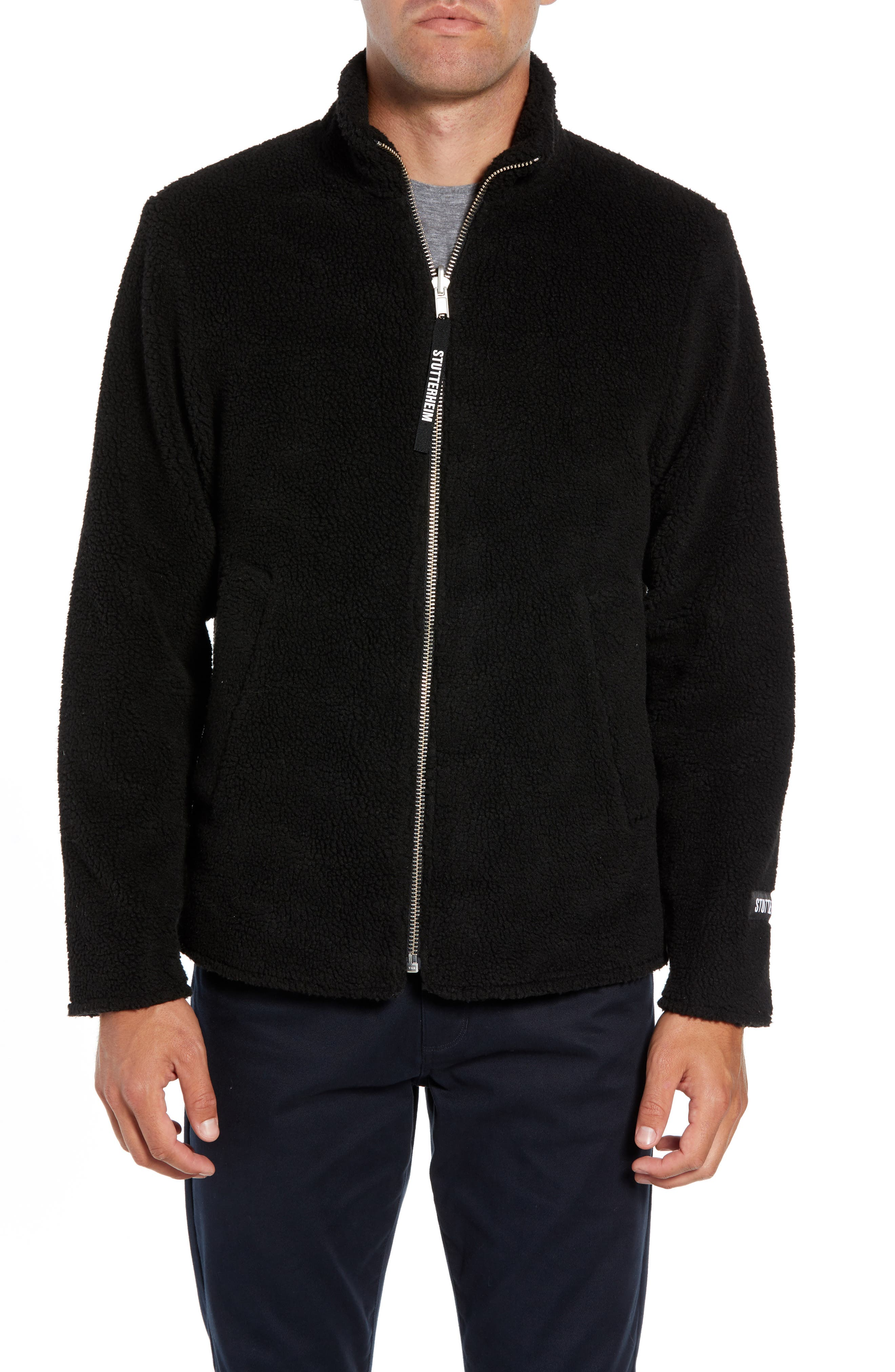 Varby Reversible Fleece Jacket,                             Alternate thumbnail 6, color,                             BLACK